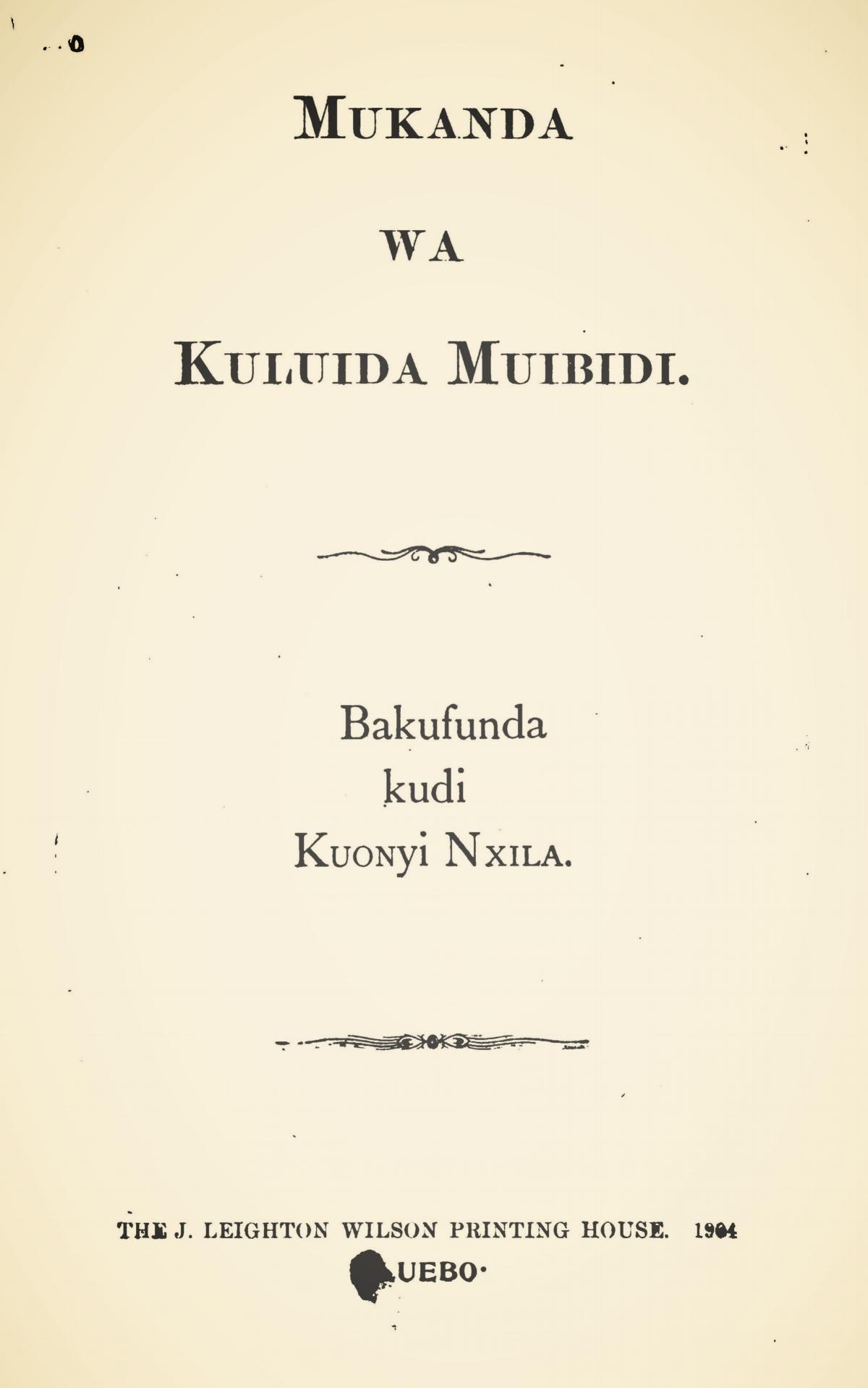 Morrison, William McCutchan, Mukanda Wa Kuluida Muibidi Title Page.jpg