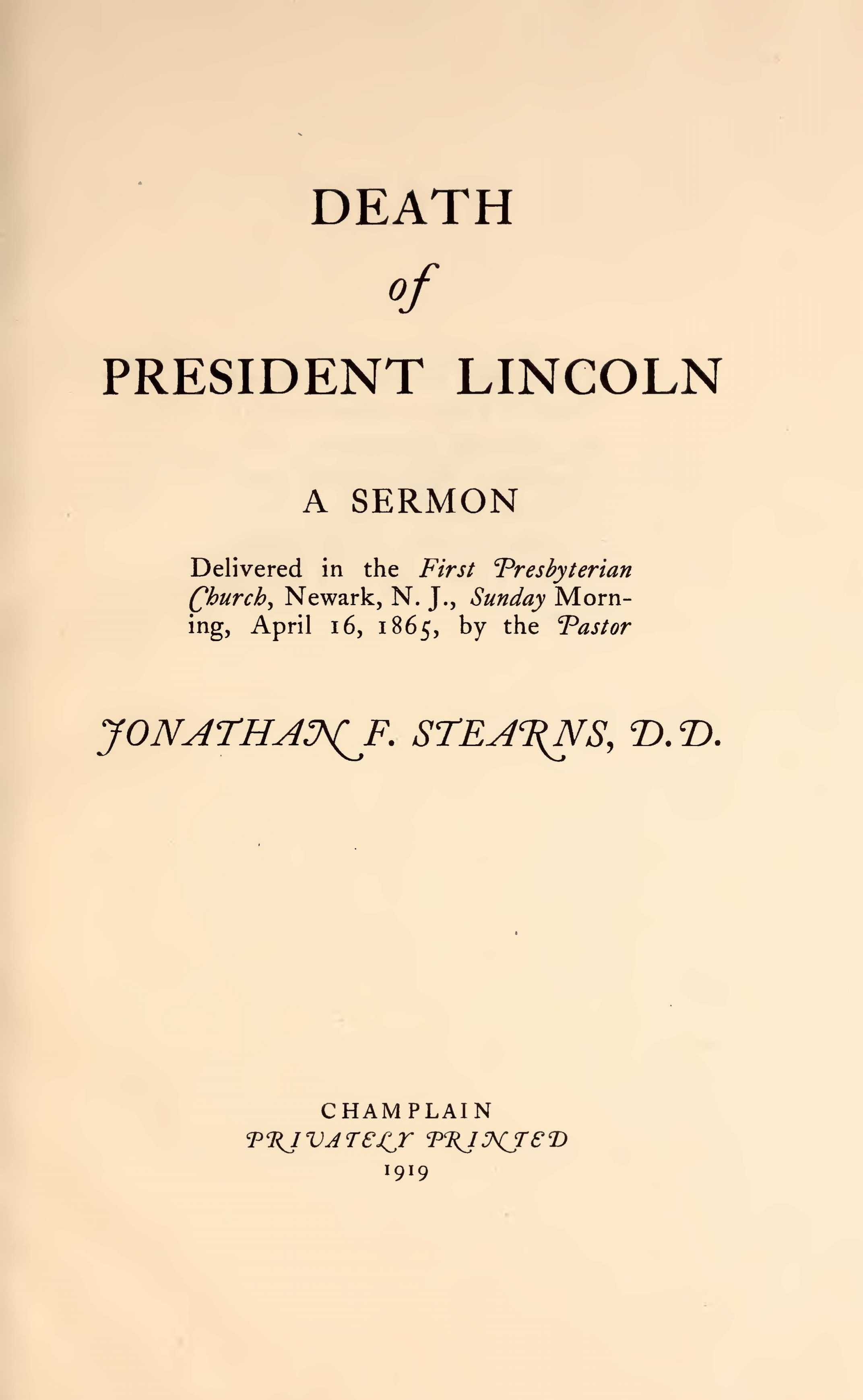 Stearns, Jonathan French, Death of President Lincoln A Sermon Title Page.jpg