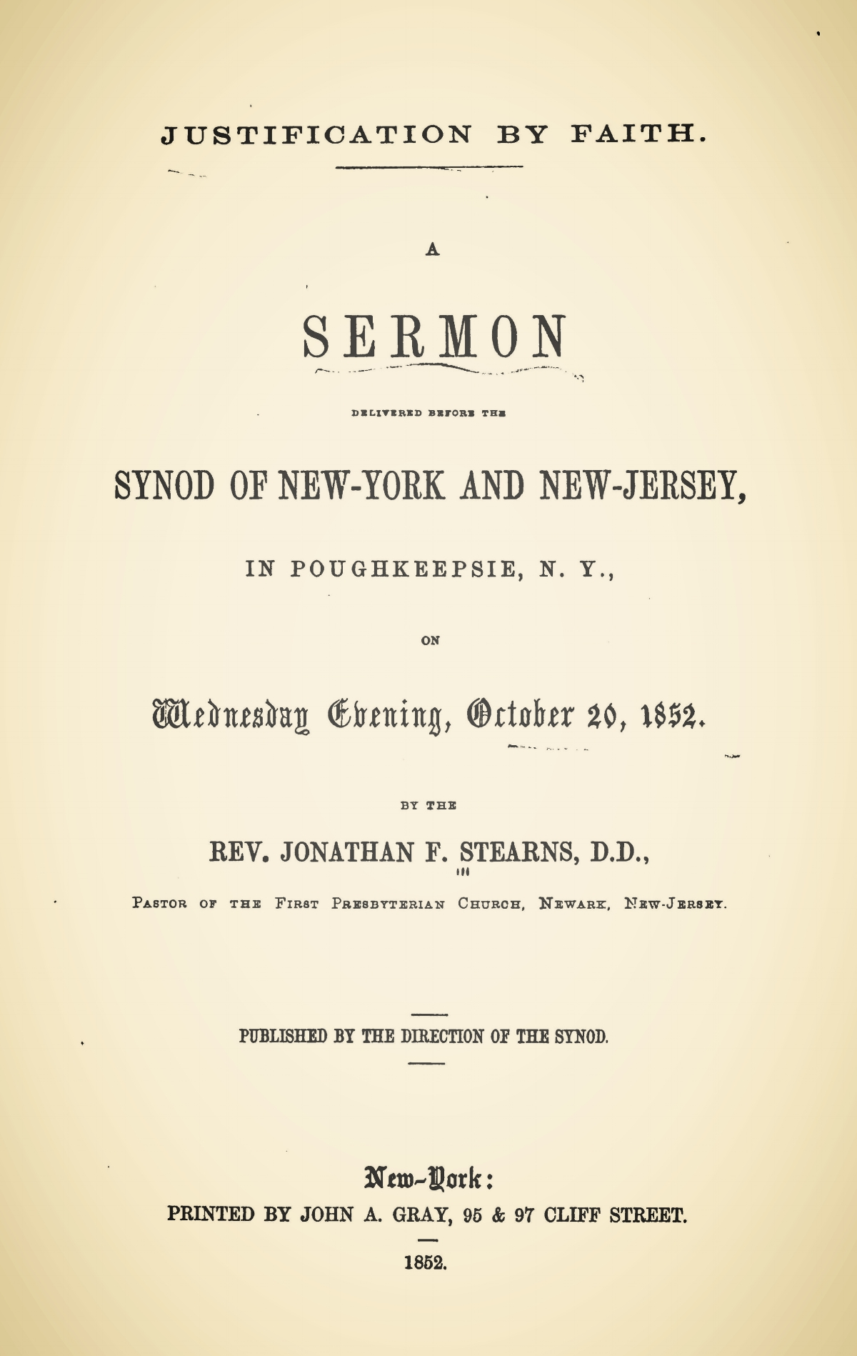 Stearns, Jonathan French, Justification by Faith a Sermon Title Page.jpg
