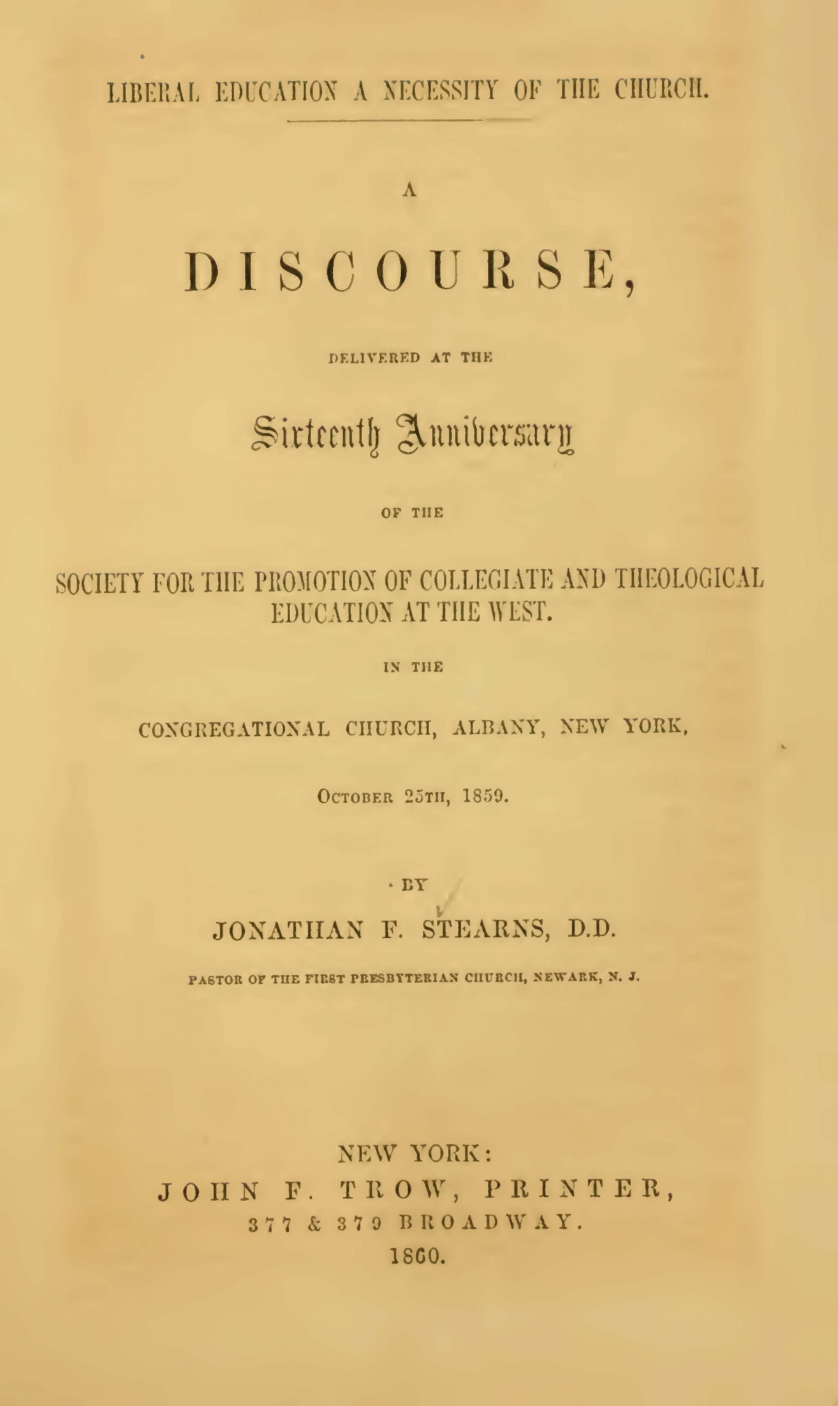 Stearns, Jonathan French, Liberal Education a Necessity of the Church Title Page.jpg