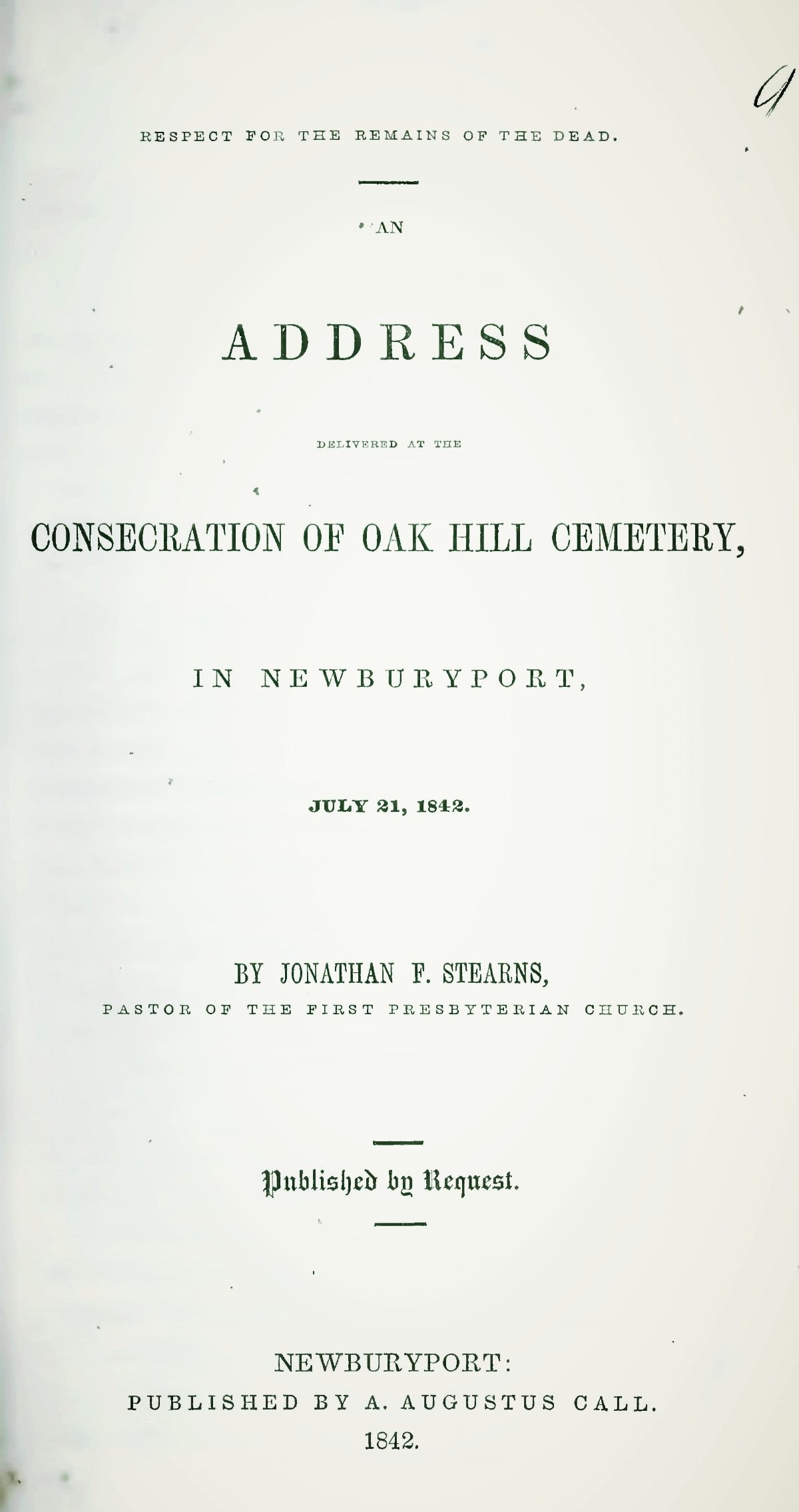 Stearns, Jonathan French, Respect for the Remains of the Dead an Address Title Page.jpg