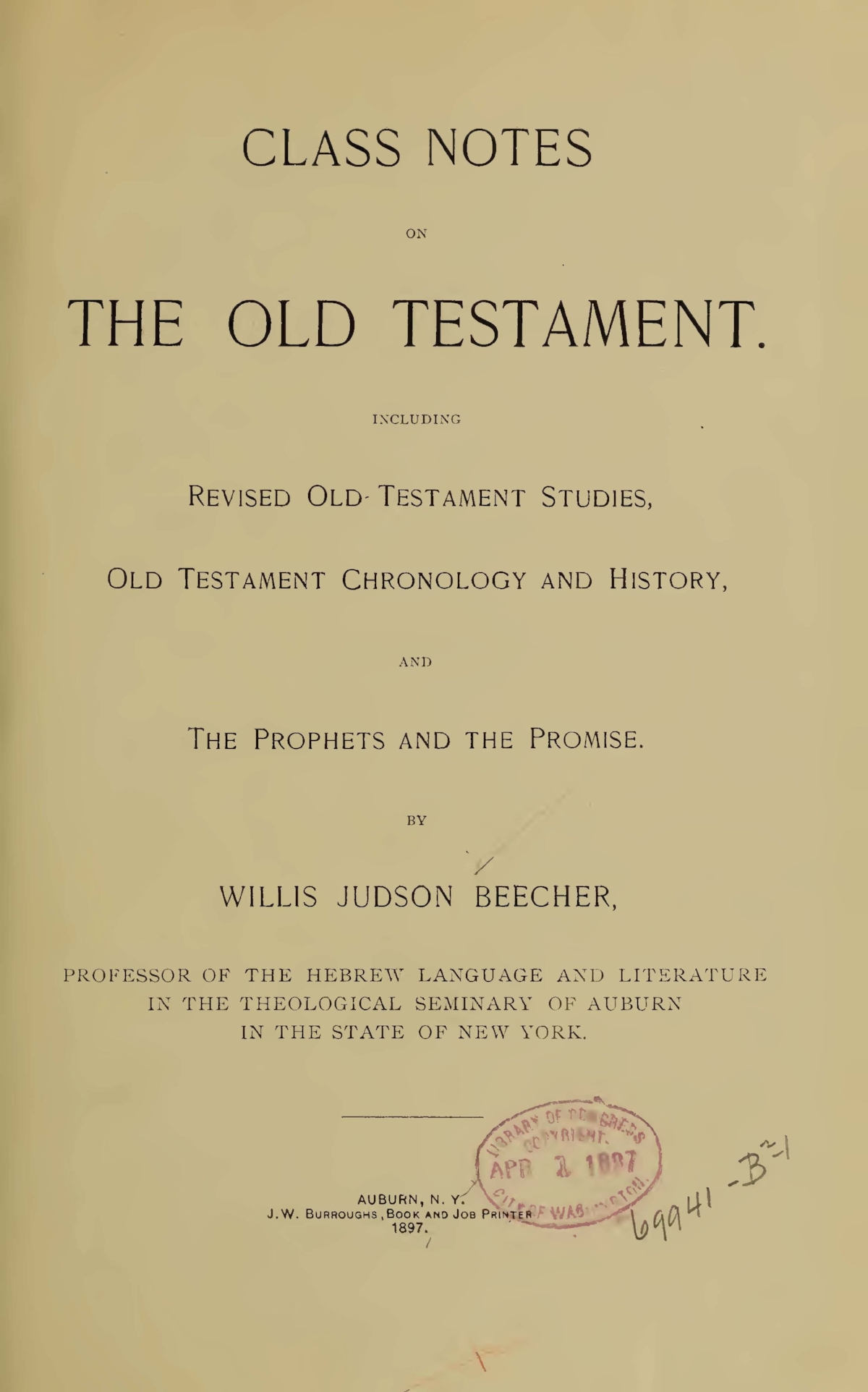 Beecher, Willis Judson, Class Notes on the Old Testament Title Page.jpg