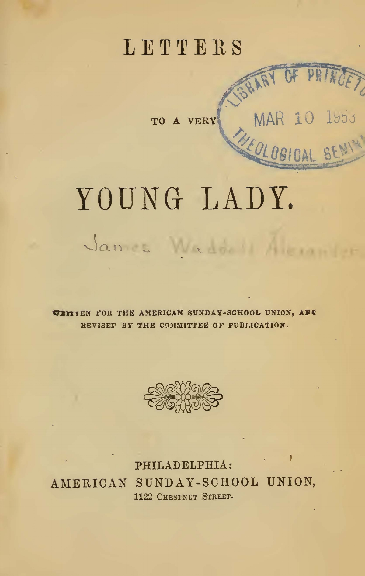 Alexander, James Waddel, Letters to a Very Young Lady Title Page.jpg