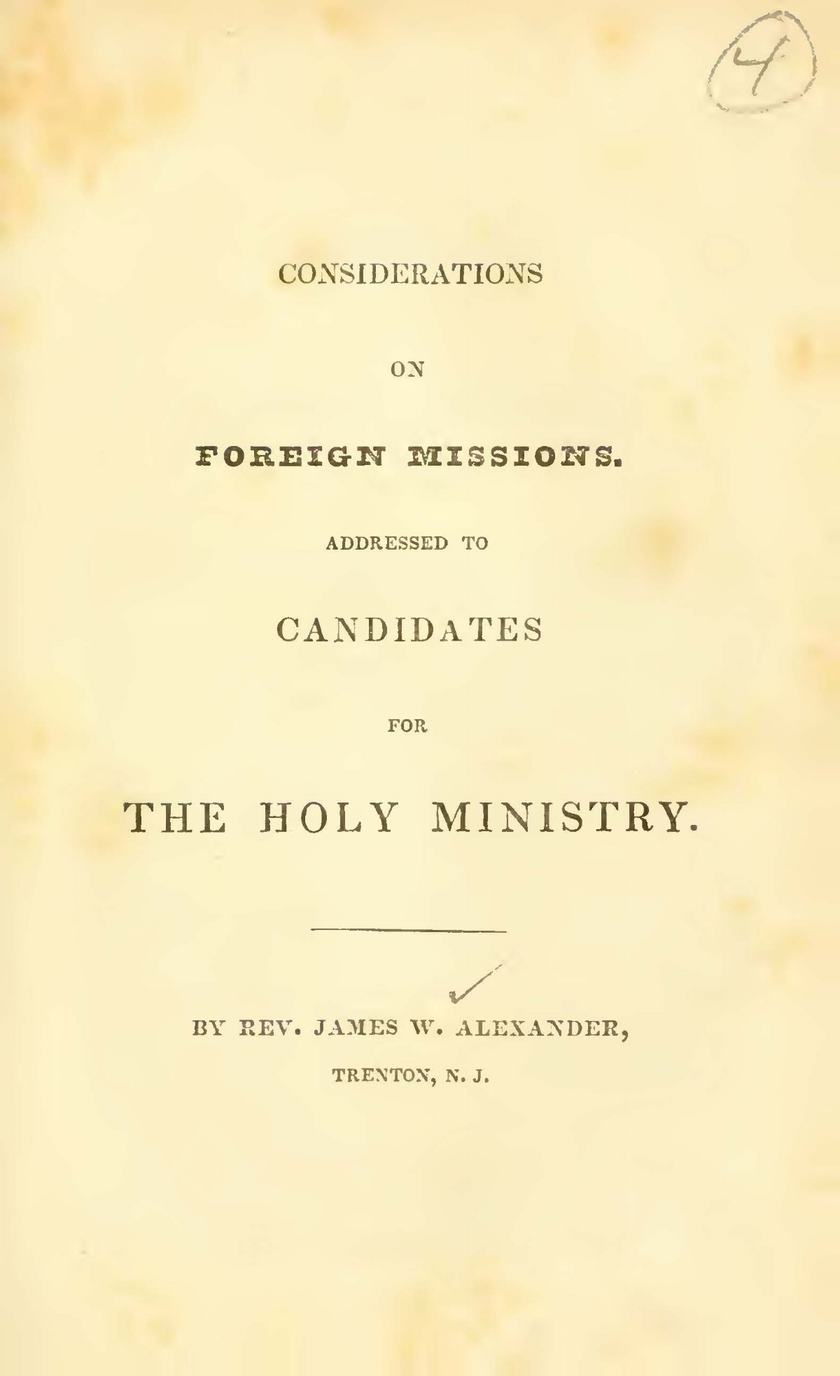 Alexander, James Waddel, Considerations on Foreign Missions Title Page.jpg