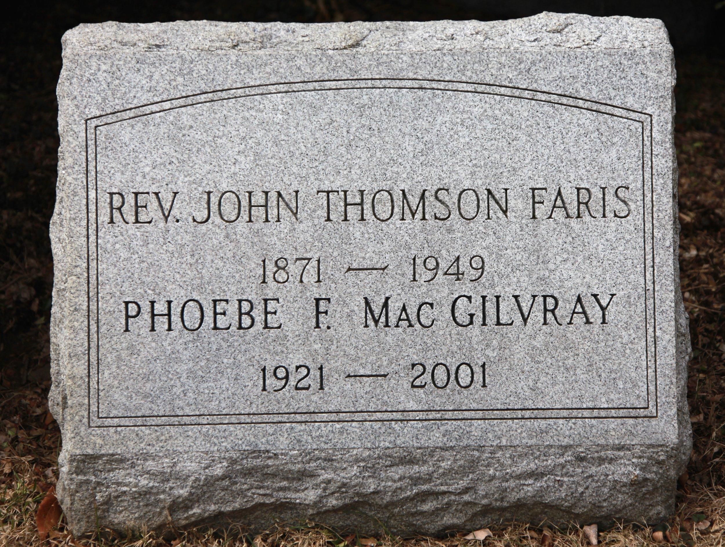 John Thomson Faris is buried at West Laurel Hill Cemetery, Bala Cynwyd, Pennsylvania.