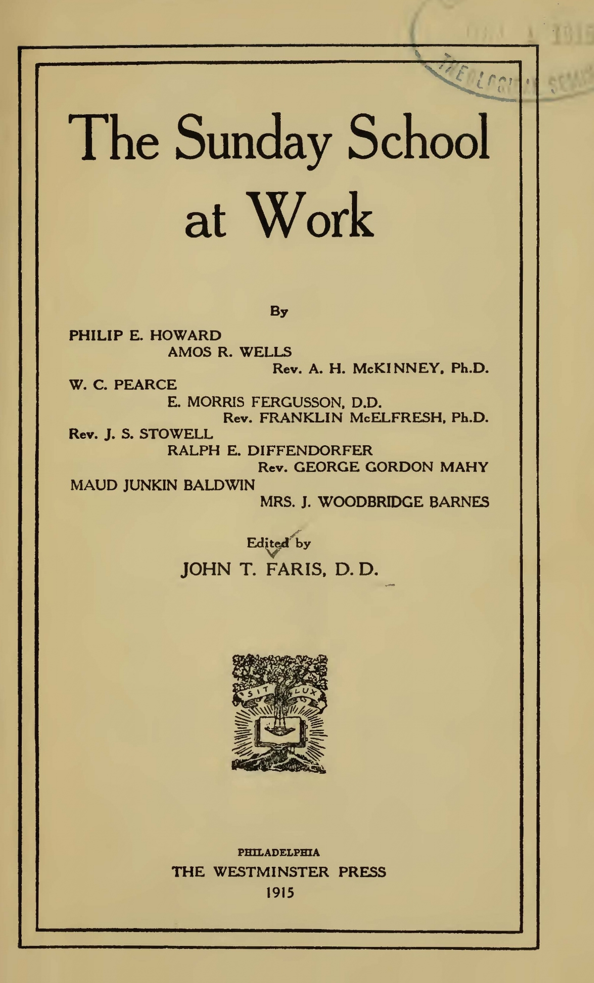Faris, John Thomson, The Sunday School at Work Title Page.jpg