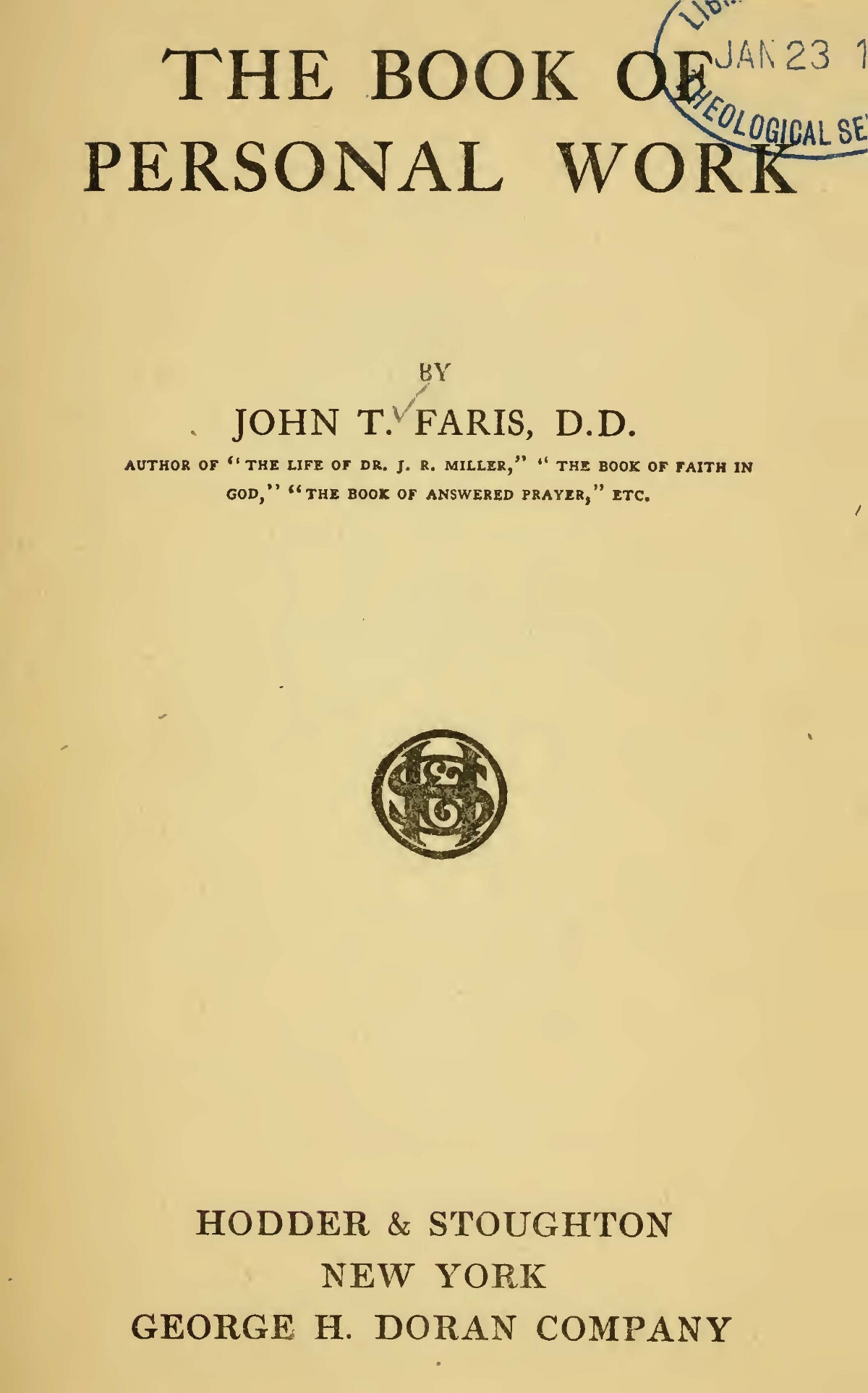 Faris, John Thomson, The Book of Personal Work Title Page.jpg