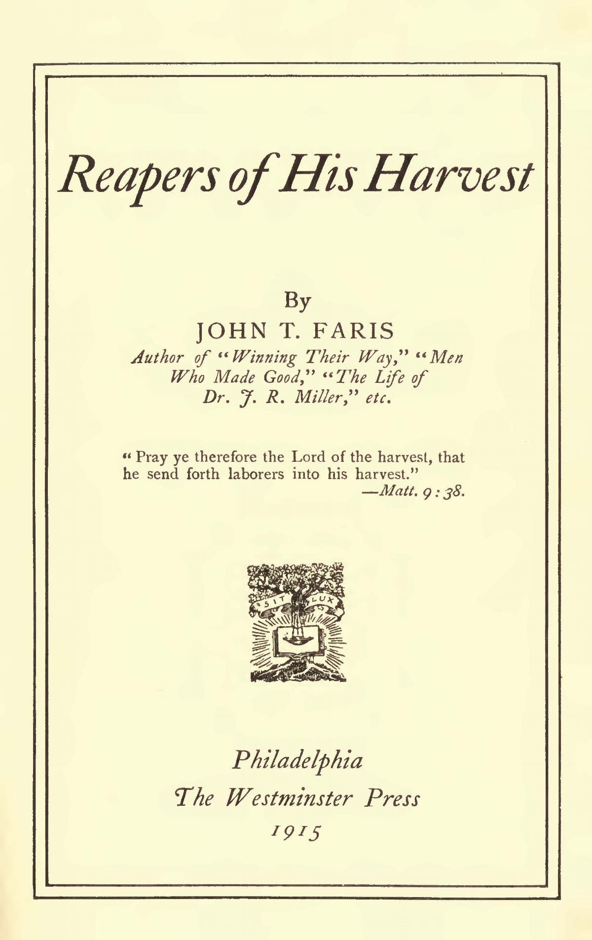 Faris, John Thomson, Reapers of His Harvest TItle Page.jpg