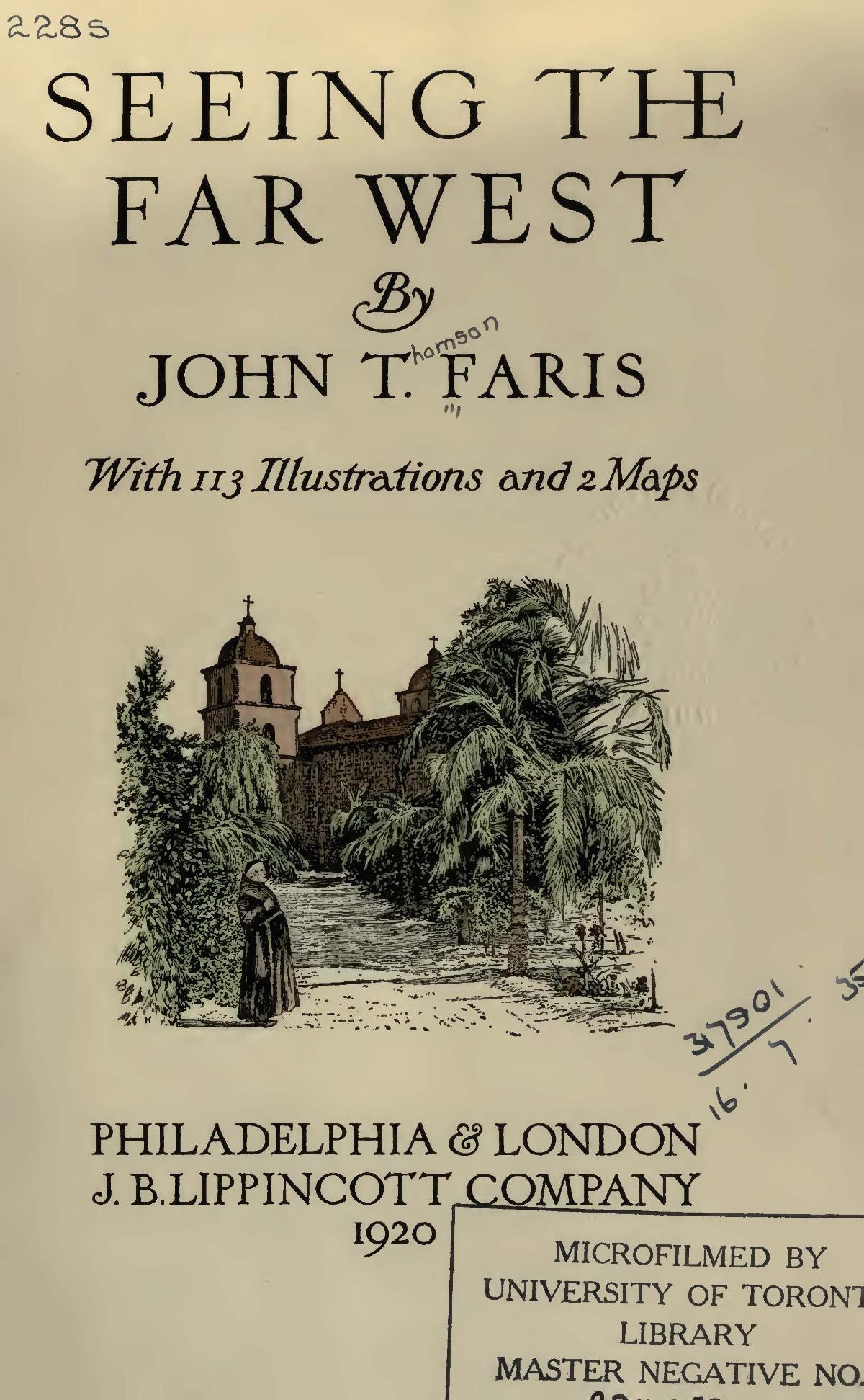 Faris, John Thomson, Seeing the Far West Title Page.jpg