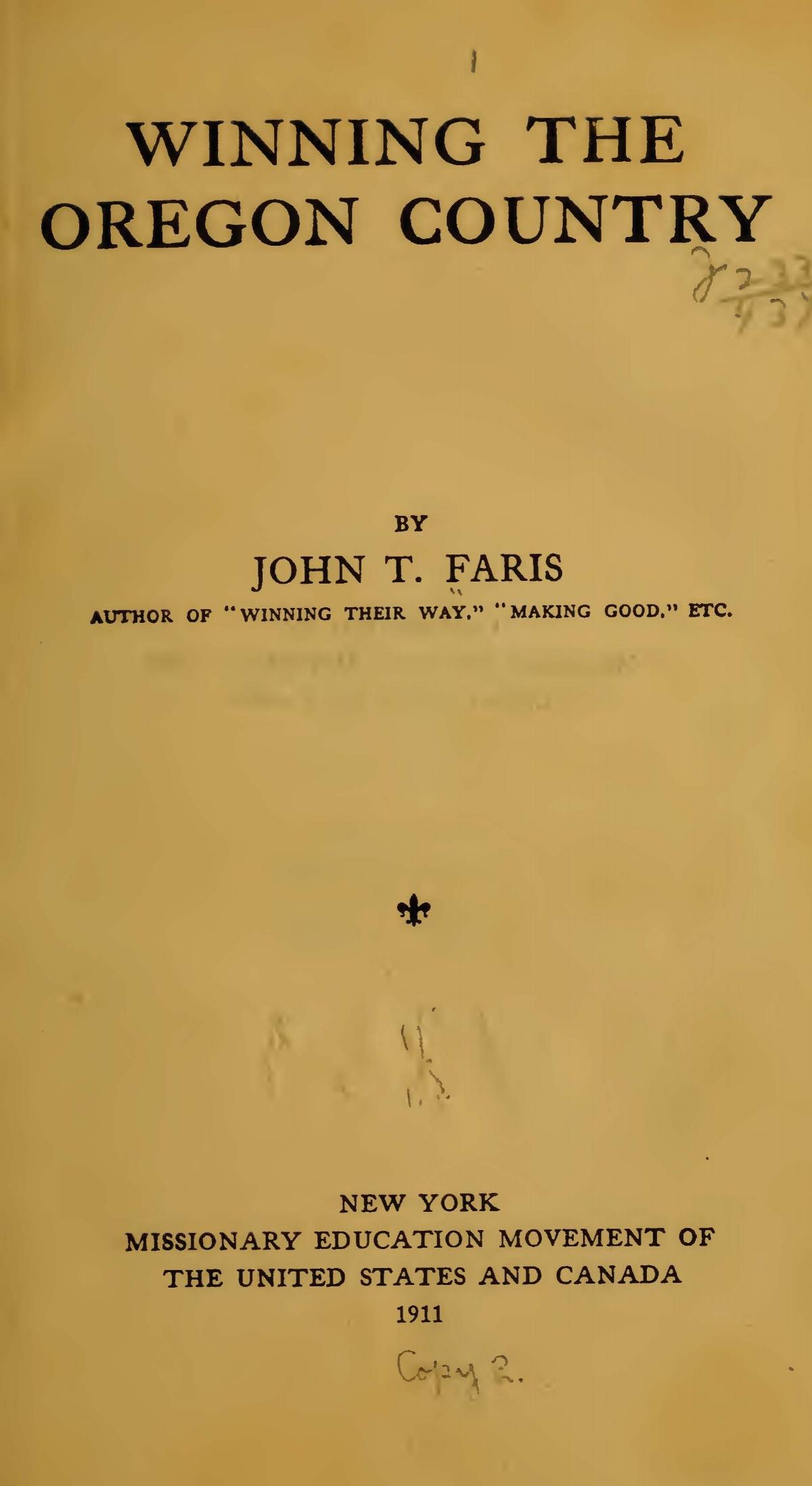 Faris, John Thomson, Winning the Oregon Country Title Page.jpg