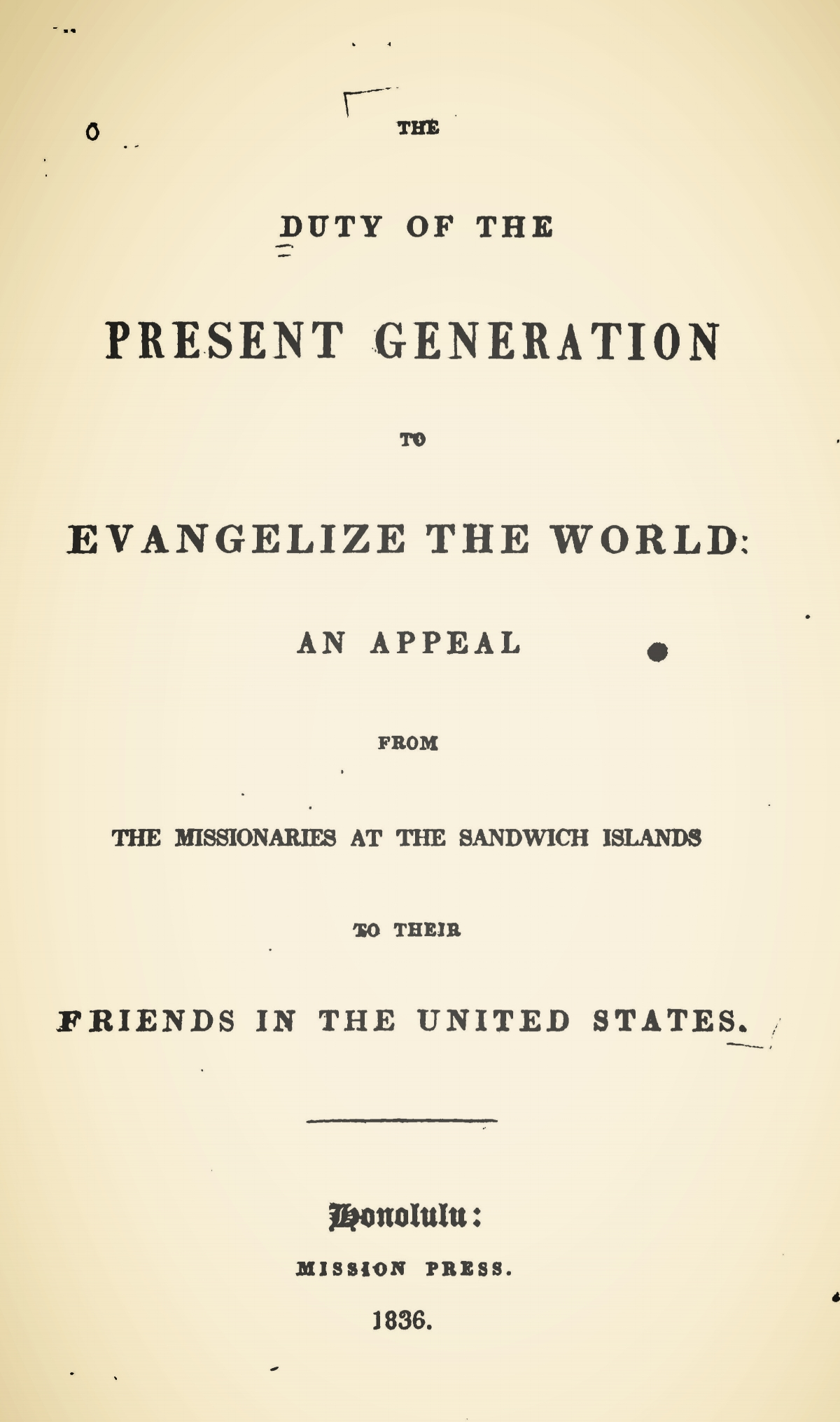 Alexander, William Patterson, The Duty of the Present Generation to Evangelize the World Title Page.jpg