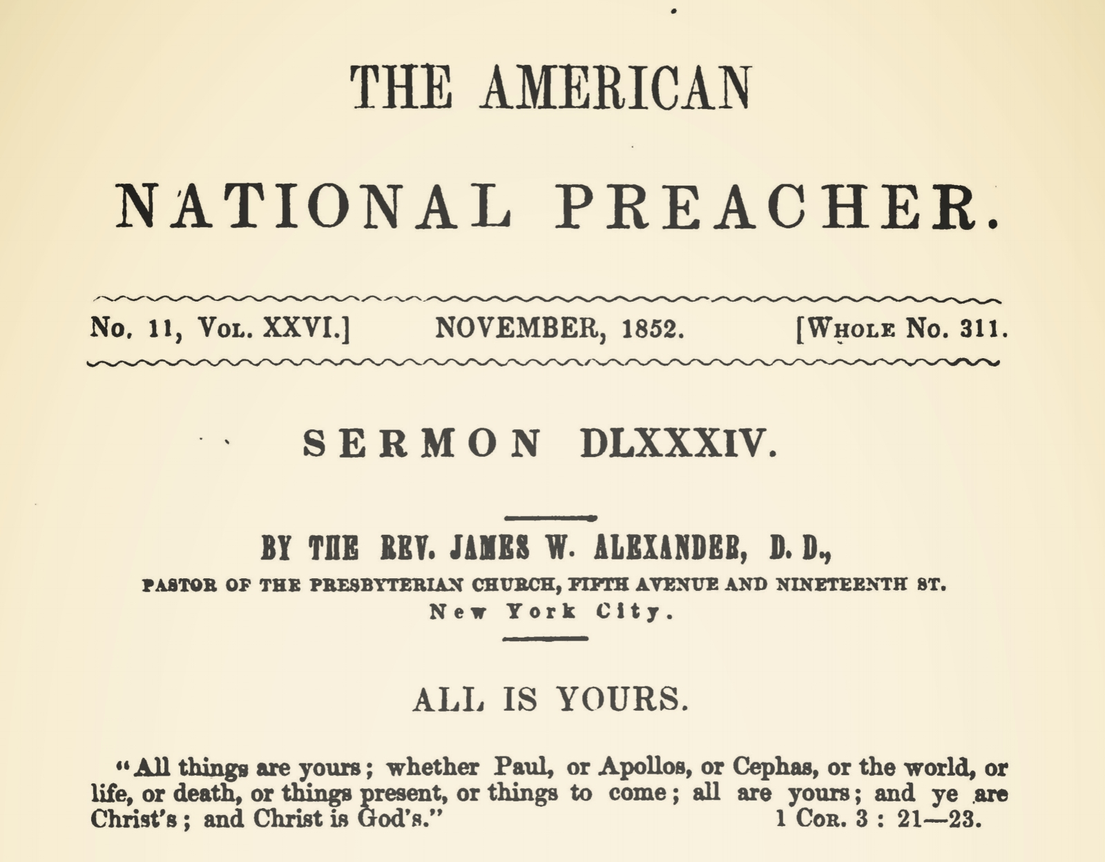 Alexander, James Waddel, All is Yours Sermon Title Page.jpg