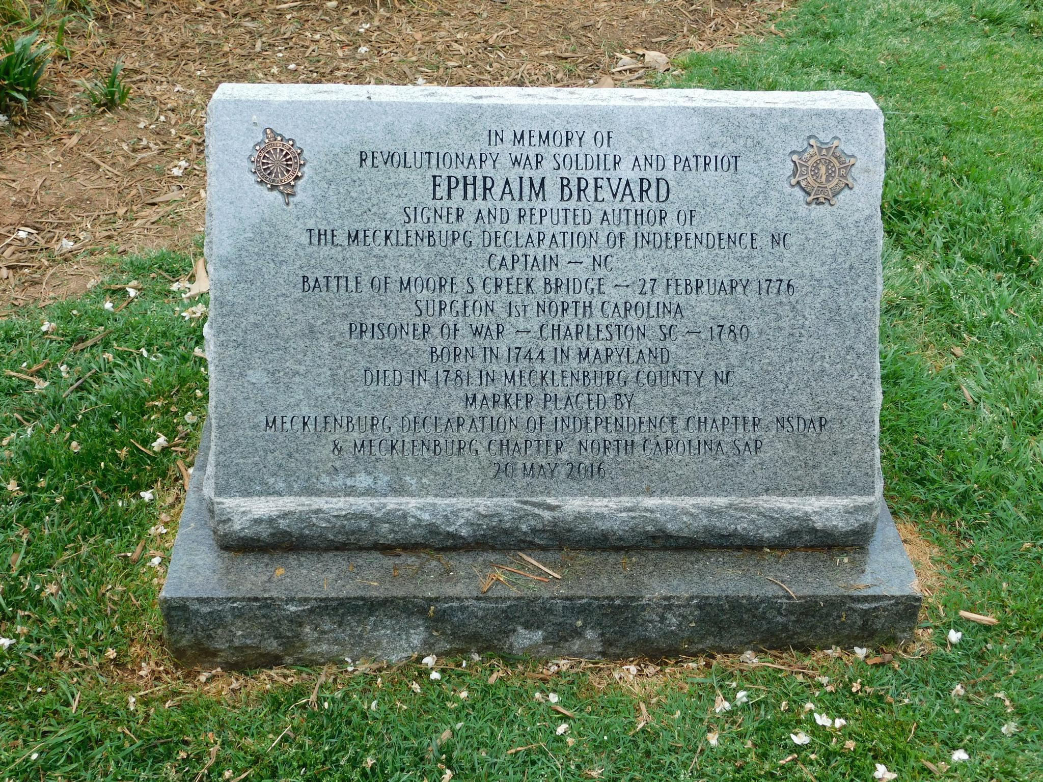 The precise location of Ephraim Brevard's buried remains in Mecklenburg County, North Carolina, is unknown. But this marker in the Old Settlers Cemetery, Charlotte, North Carolina is a tribute to the life and legacy of Dr. Brevard.