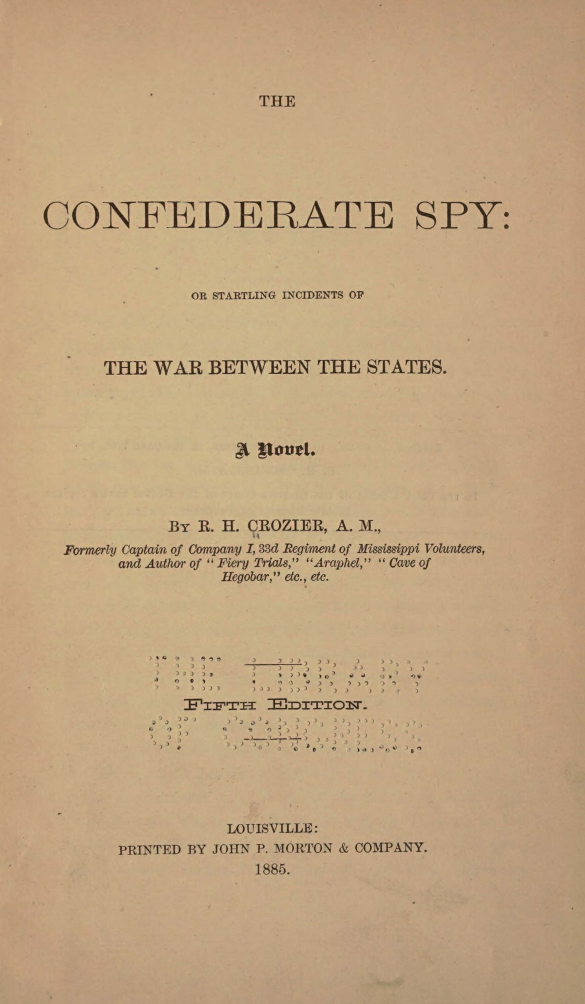 Crozier, Robert Hoskins, The Confederate Spy 5th ed. Title Page.jpg