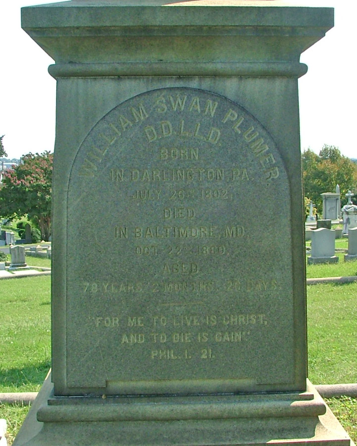 William Swan Plumer is buried at Hollywood Cemetery, Richmond, Virginia.