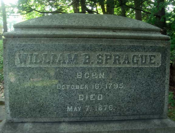 William Buell Sprague is buried at Albany Rural Cemetery, Menands, New York.