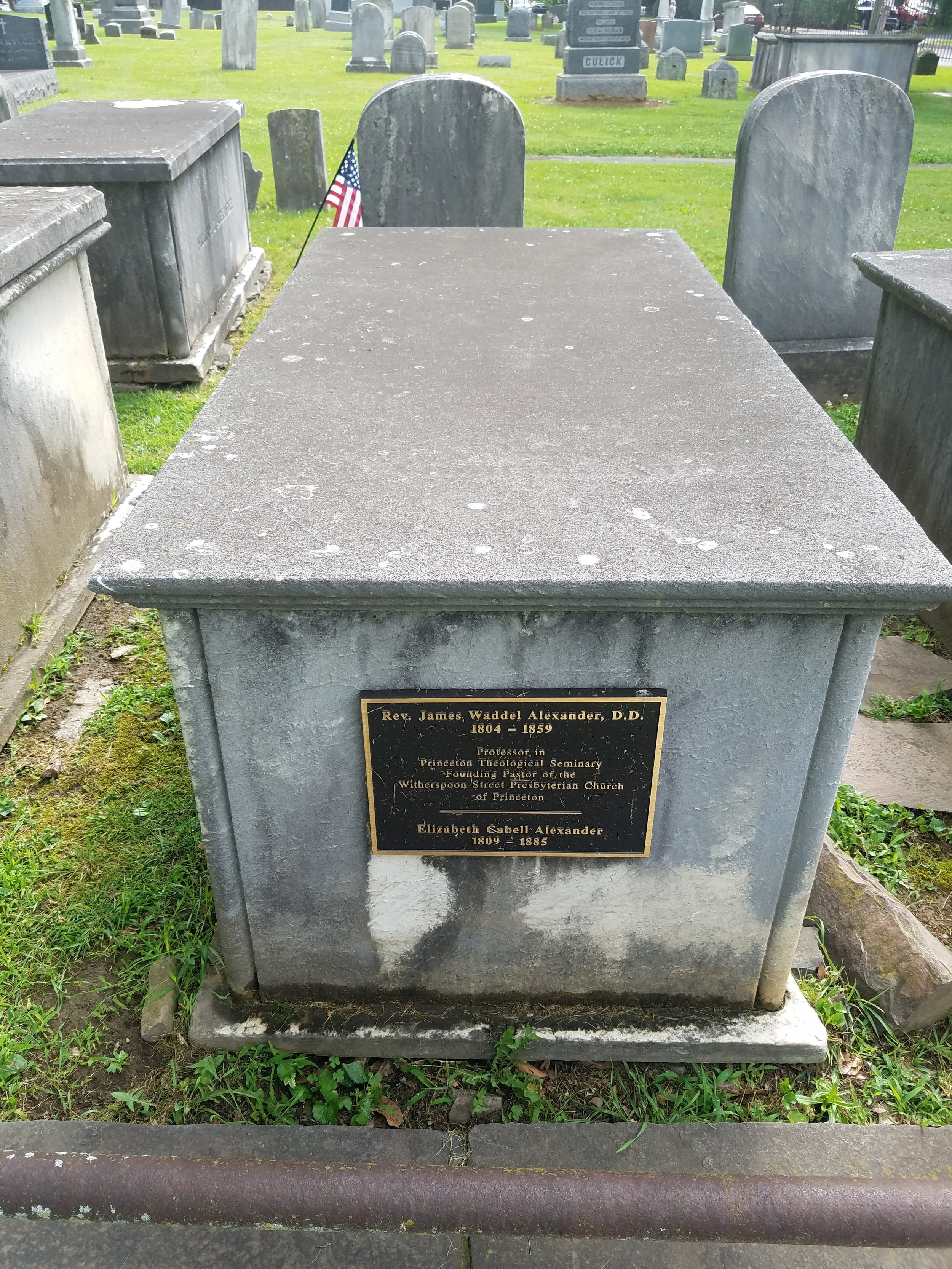 James Waddel Alexander is buried at Princeton Cemetery, Princeton, New Jersey (photo credit: R. Andrew Myers).