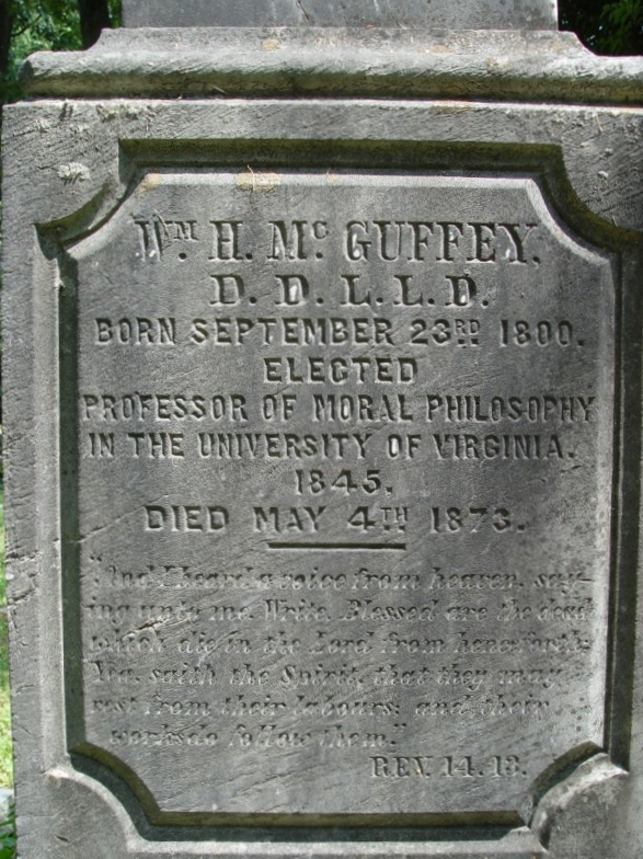 William Holmes McGuffey is buried at University of Virginia Cemetery and Columbarium, Charlottesville, Virginia. A statue in his memory is located at Miami University in Oxford, Ohio