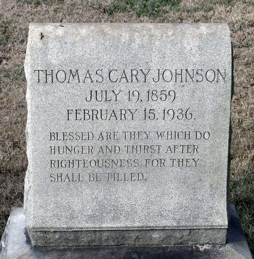 Thomas Cary Johnson is buried at Hollywood Cemetery, Richmond, Virginia.