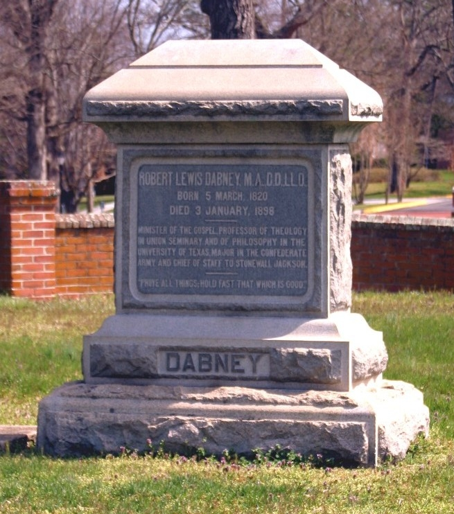 Robert Lewis Dabney is buried at Union Theological Seminary Cemetery, Hampden Sydney, Virginia.