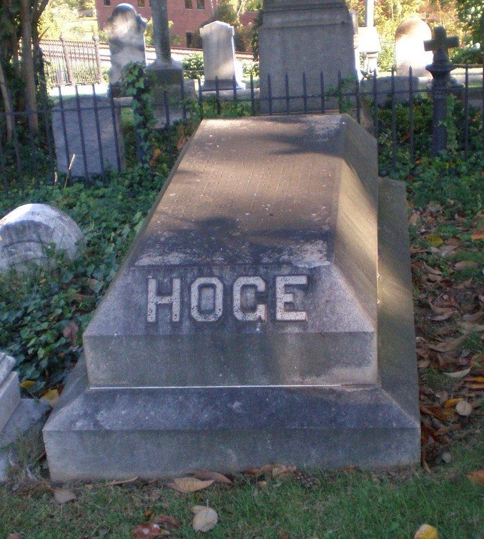 Moses Drury Hoge is buried at Hollywood Cemetery, Richmond, Virginia.