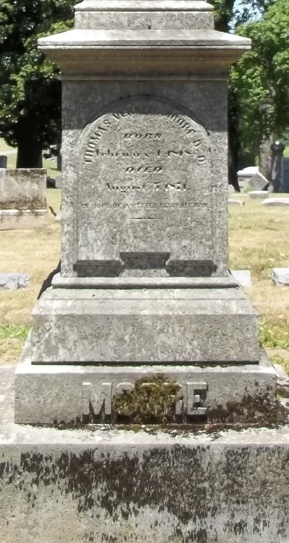 Thomas Verner Moore is buried at Mount Olivet Cemetery, Nashville, Tennessee.