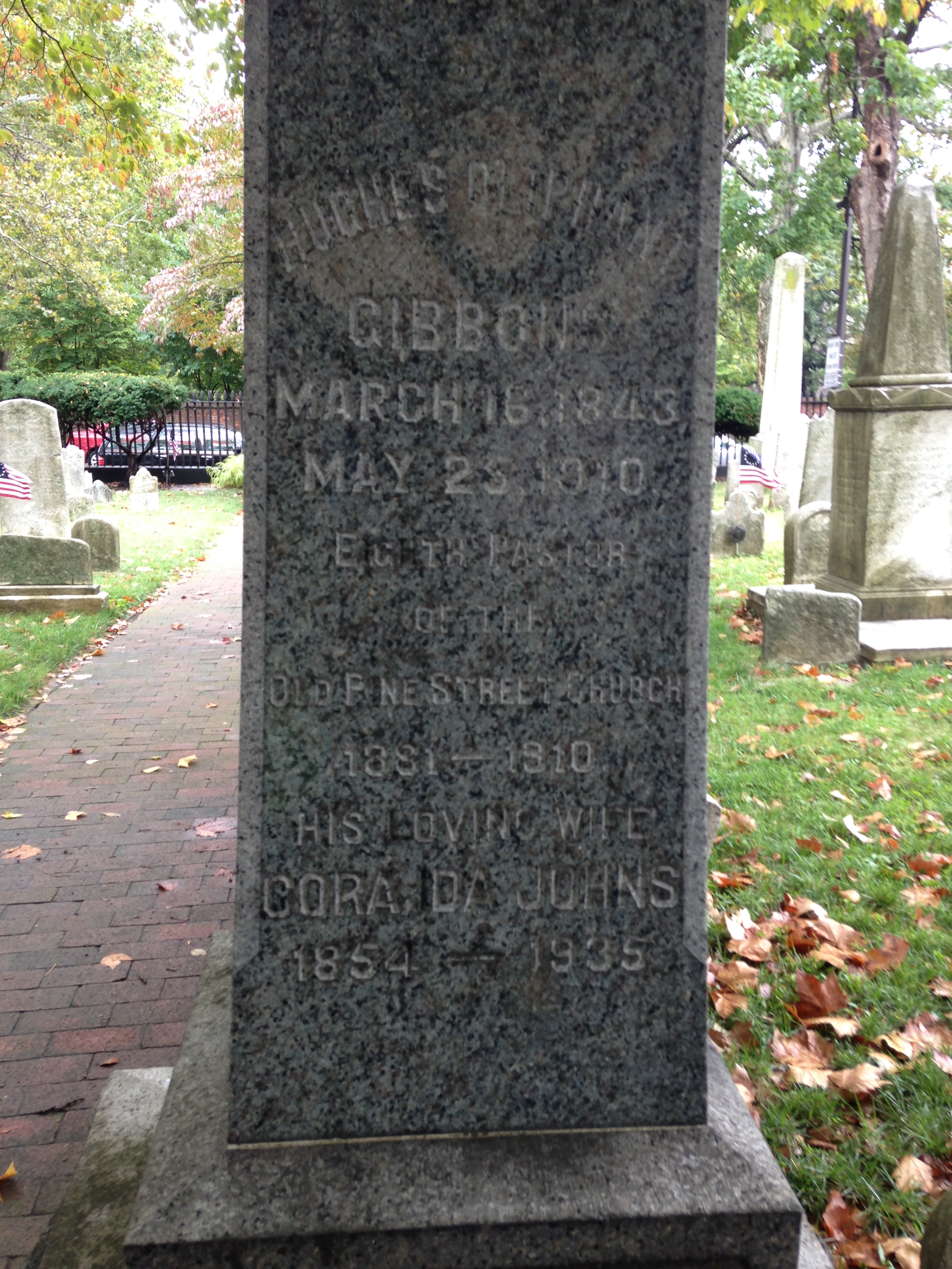 Hughes Oliphant Gibbons is buried at Old Pine Street Presbyterian Church Cemetery, Philadelphia, Pennsylvania.