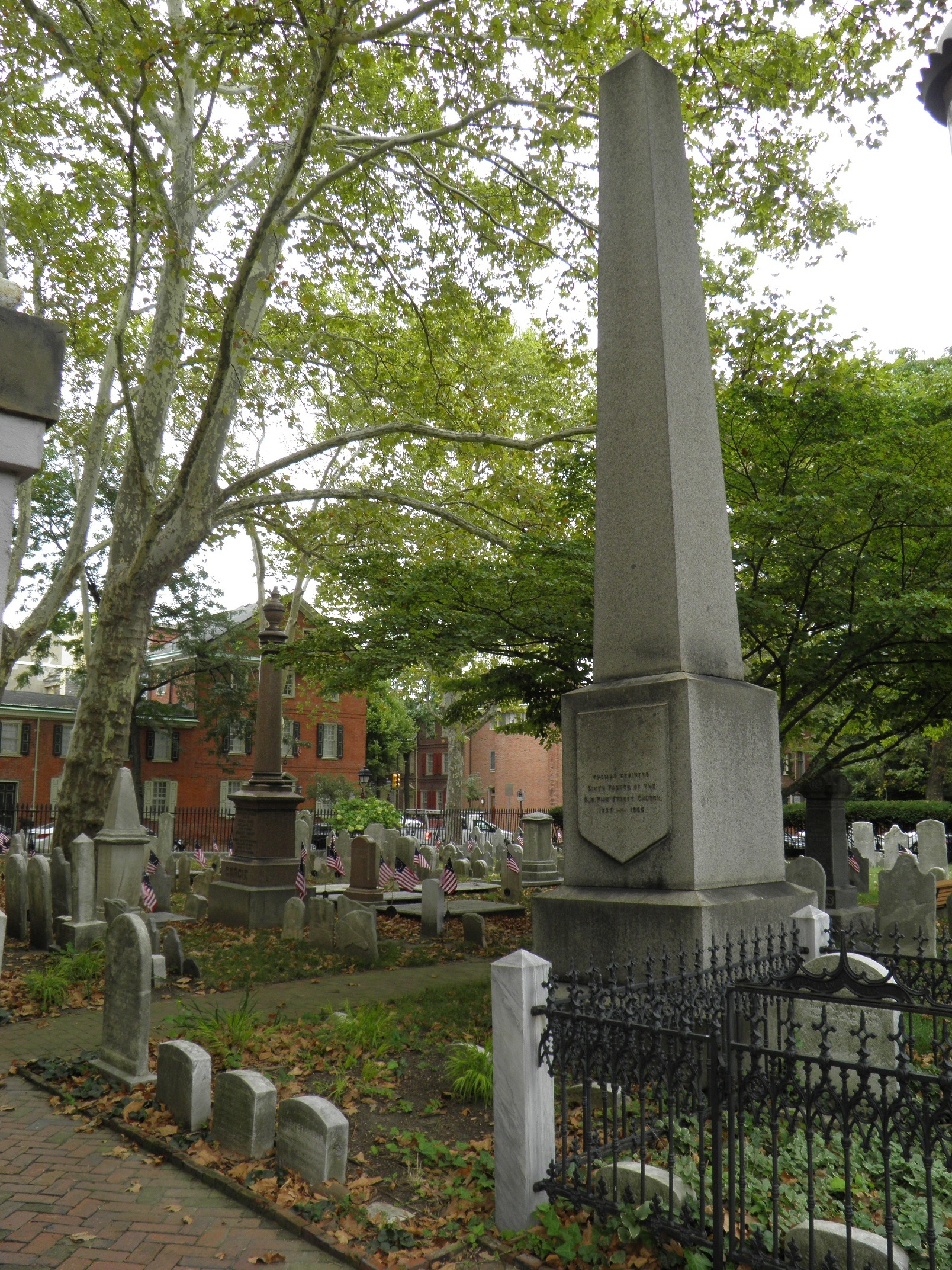 Thomas Brainerd is buried at Old Pine Street Presbyterian Church Cemetery, Philadelphia, Pennsylvania.