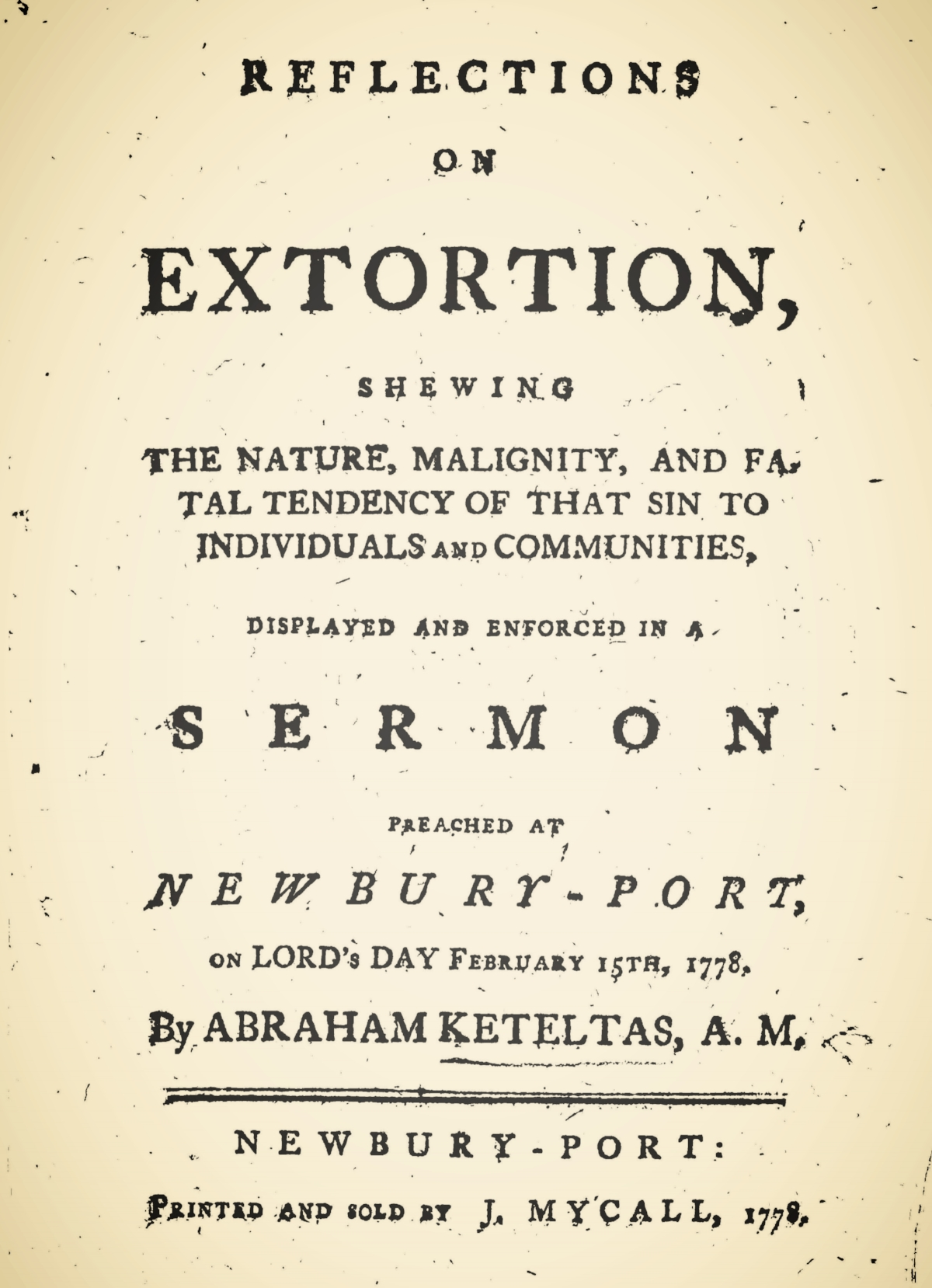Keteltas, Abraham, Reflections on Extortion Title Page.jpg