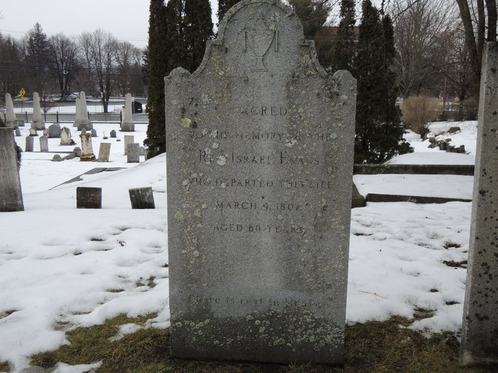 Israel Evans is buried at Old North Cemetery, Concord, New Hampshire.