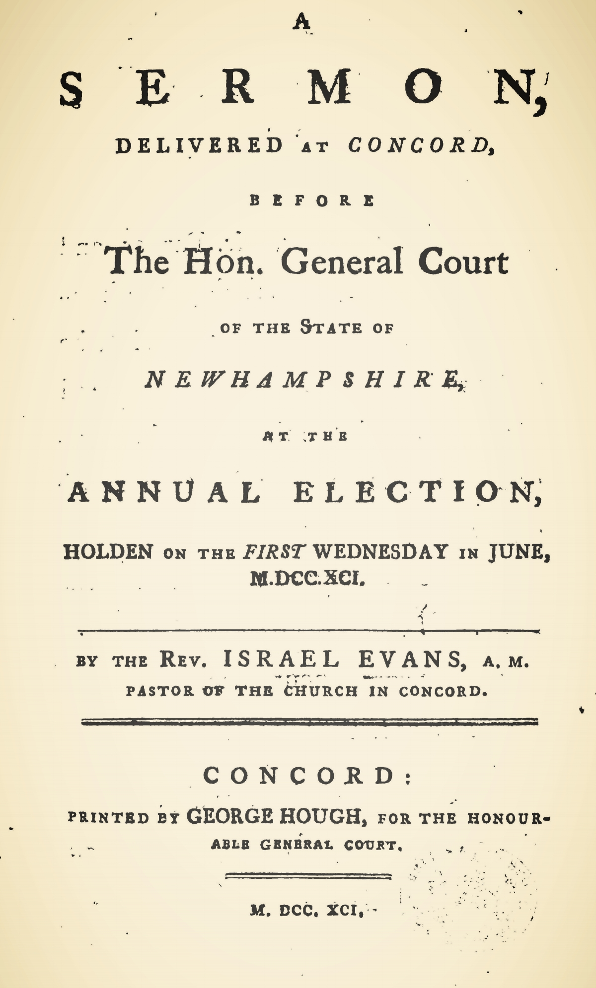 Evans, Israel, A Sermon Delivered at Concord Title Page.jpg