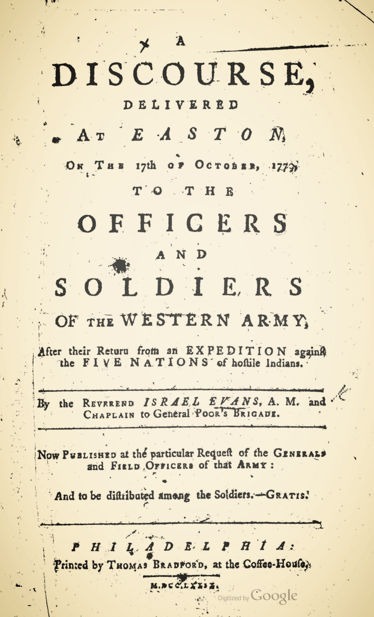 Evans, Israel, A Discourse Delivered at Easton Title Page.jpg