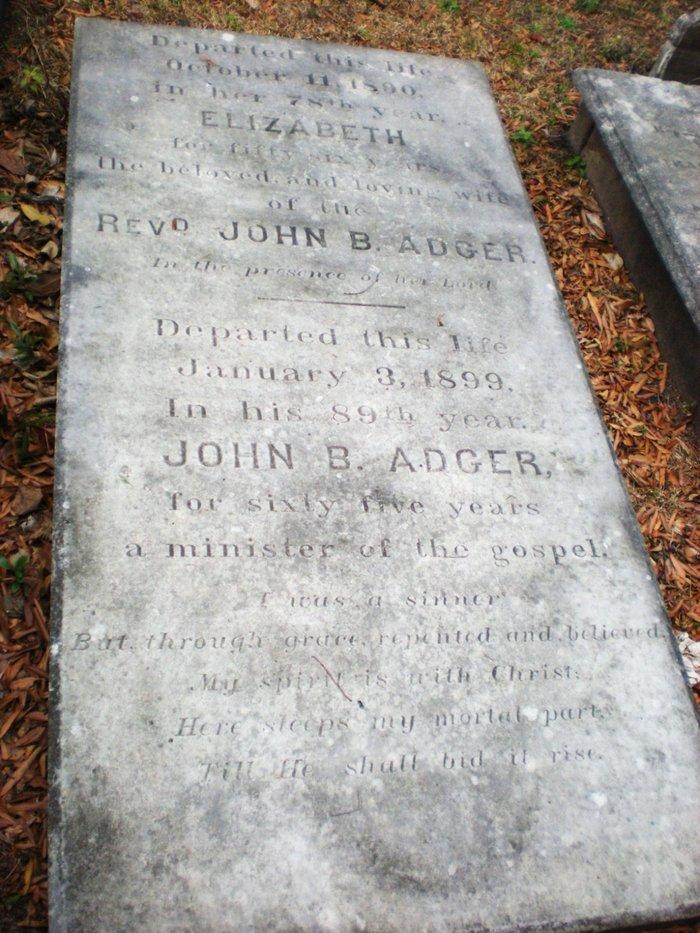 John Bailey Adger is buried at Second Presbyterian Church Cemetery, Charleston, South Carolina.