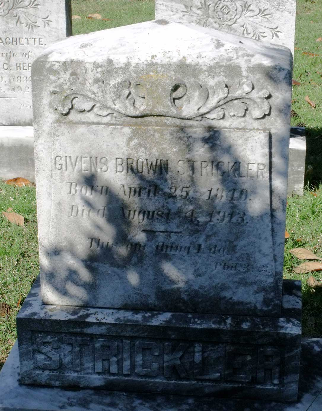 Givens Brown Strickler is buried at Hollywood Cemetery, Richmond, Virginia.