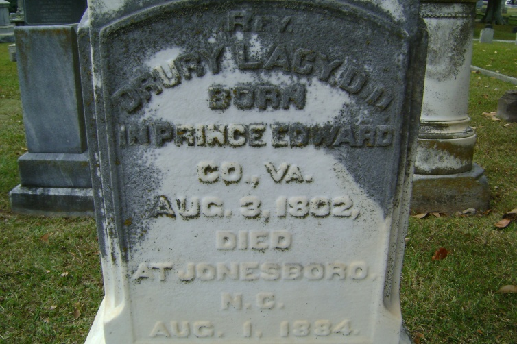 Drury Lacy, Jr. is buried at Oakwood Cemetery, Raleigh, North Carolina.