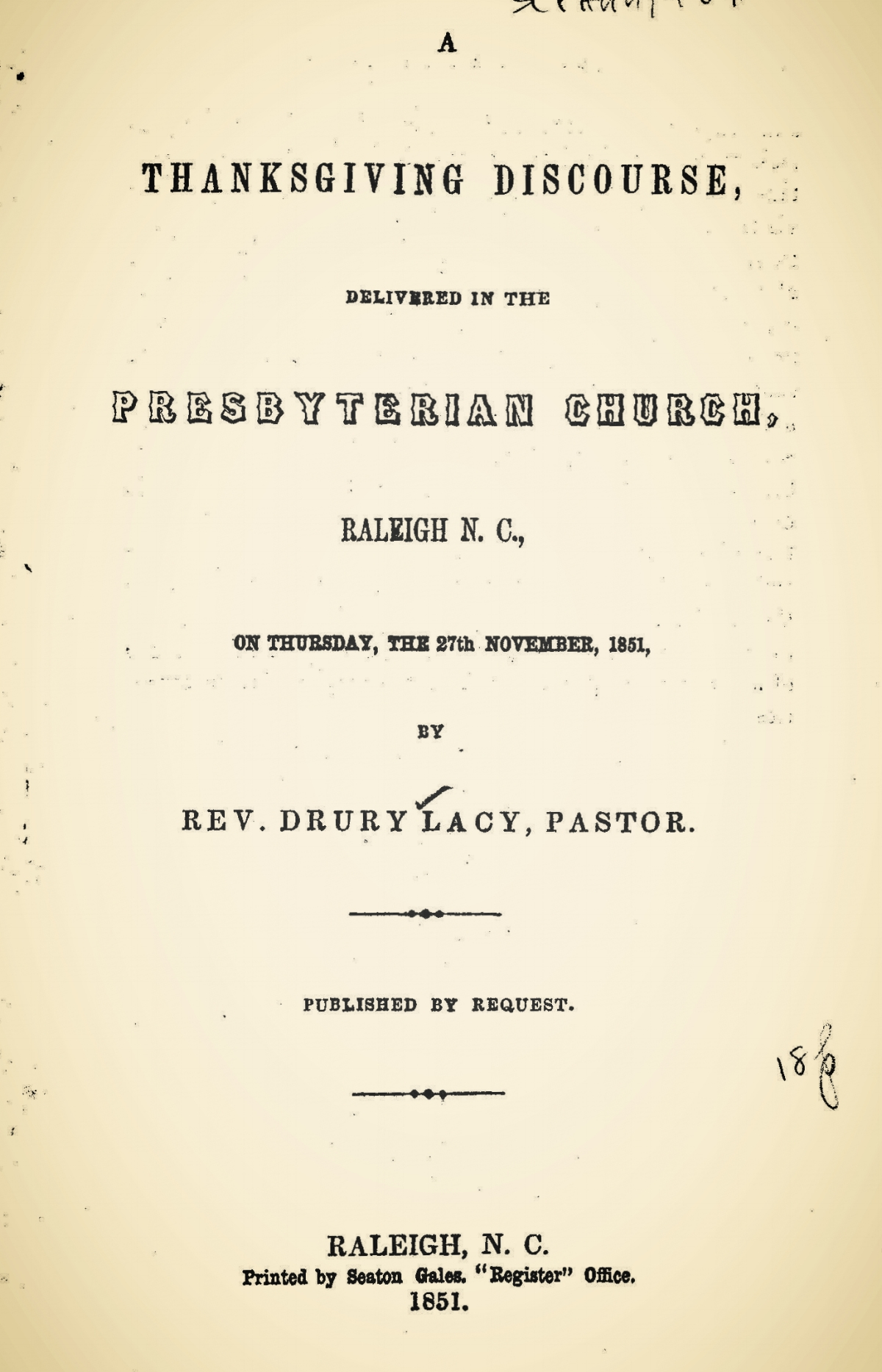 Lacy, Jr., Drury, A Thanksgiving Discourse Title Page.jpg
