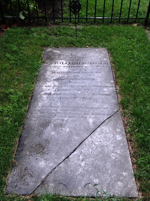 As noted above, William Graham was originally buried at the St. John's Church cemetery in Richmond, Virginia; but his remains were re-buried at Lee Chapel, Lexington, Virginia in 1911.