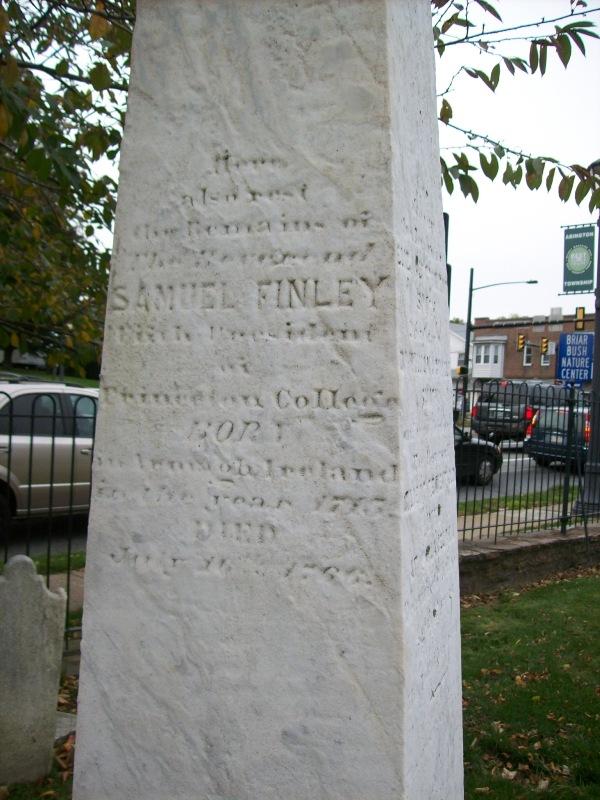 Samuel Finely is buried at Abington Presbyterian Church Cemetery, Abington, Pennsylvania.