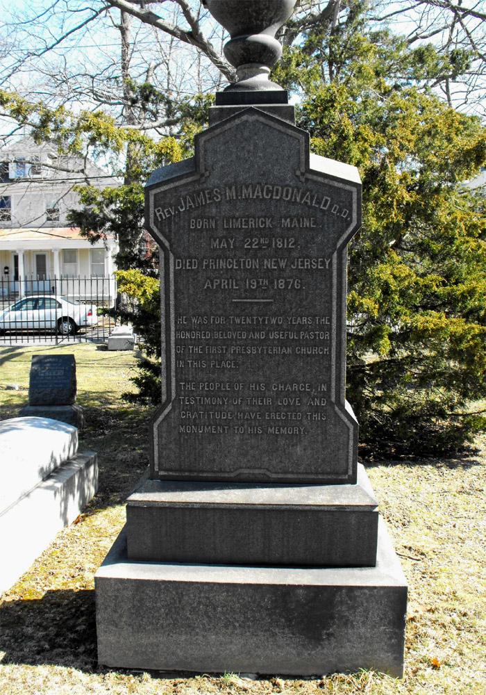 James Madison MacDonald is buried at Princeton Cemetery, Princeton, New Jersey.