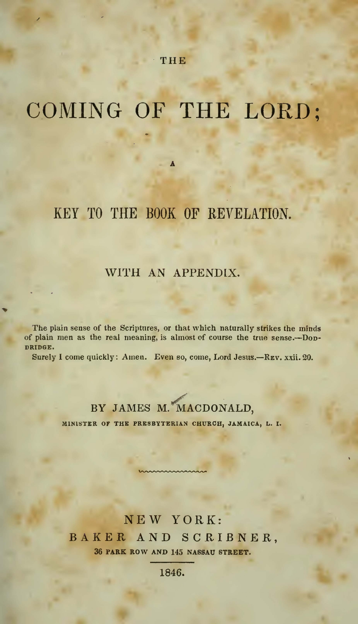MacDonald, James Madison, The Coming of the Lord Title Page.jpg