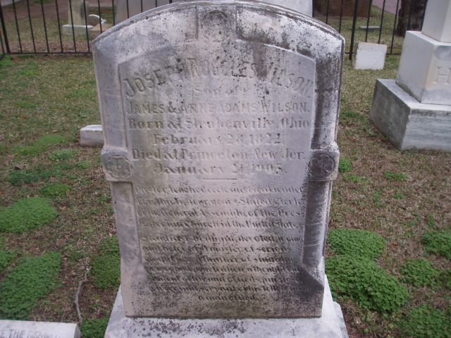 Joseph Ruggles Wilson, Sr. is buried at First Presbyterian Churchyard, Columbia, South Carolina.