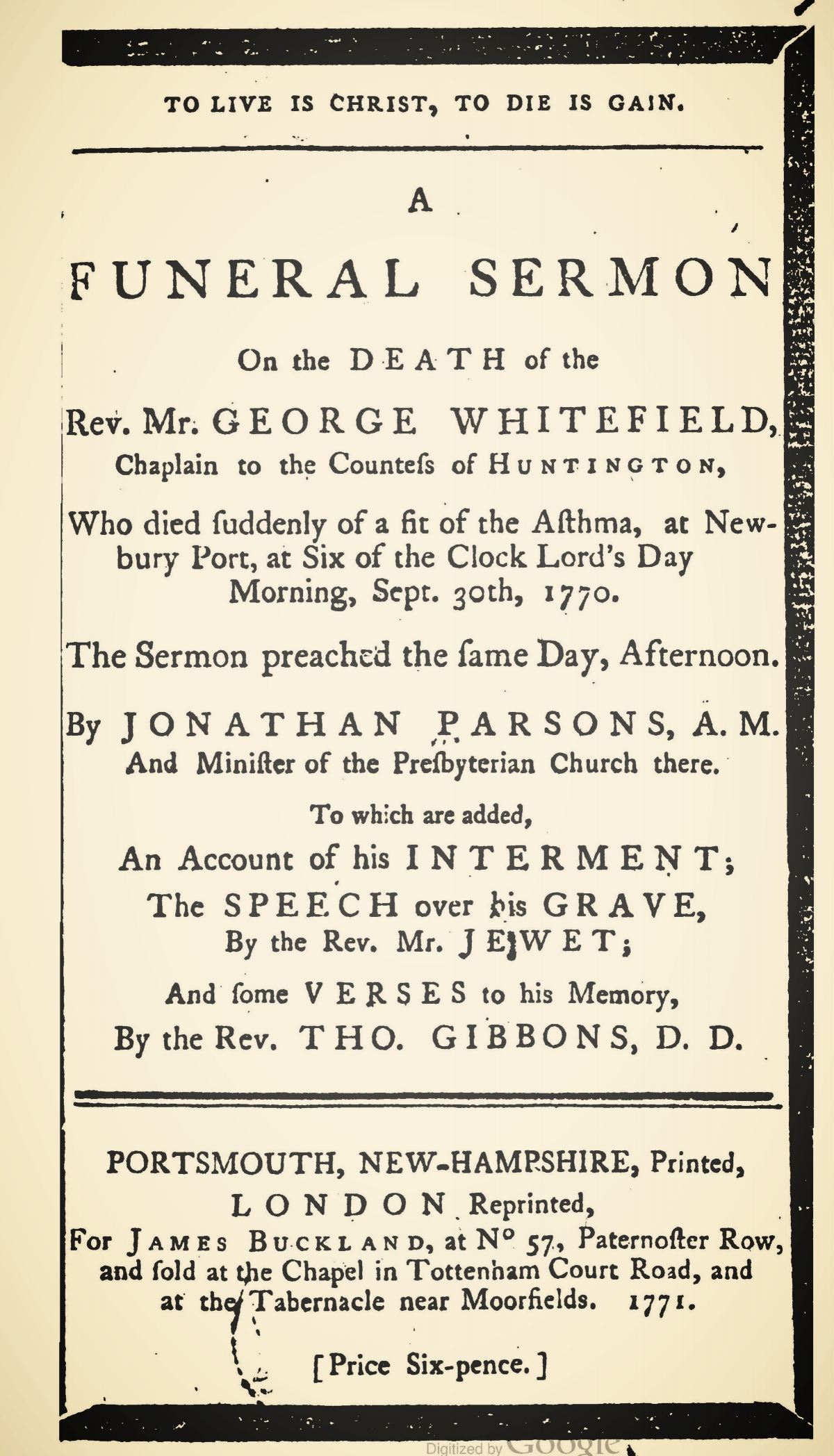 Parsons, Jonathan, To Live is Christ, To Die is Gain Title Page.jpg