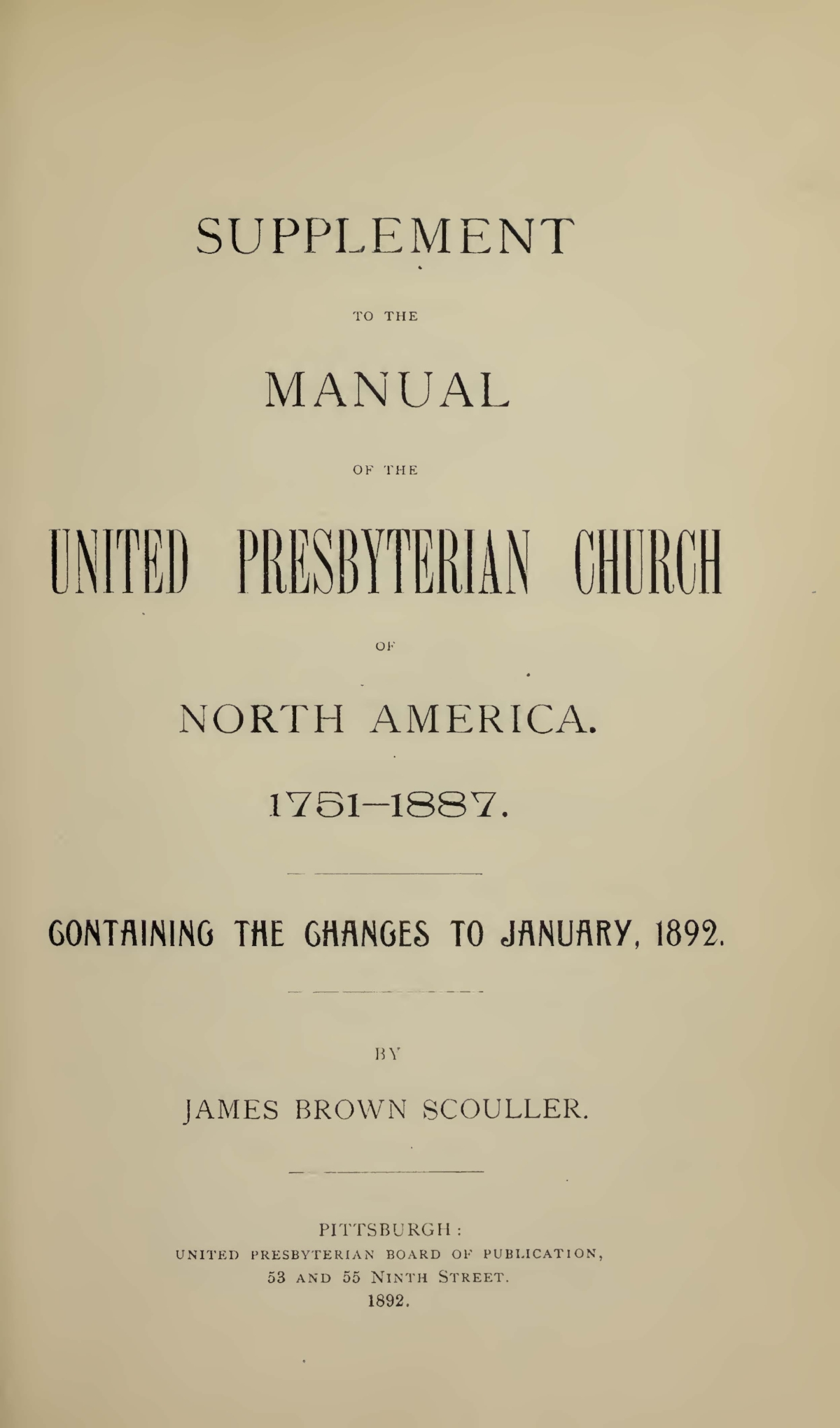 Scouller, James Brown, Supplement to the Manual of the UPCNA Title Page.jpg