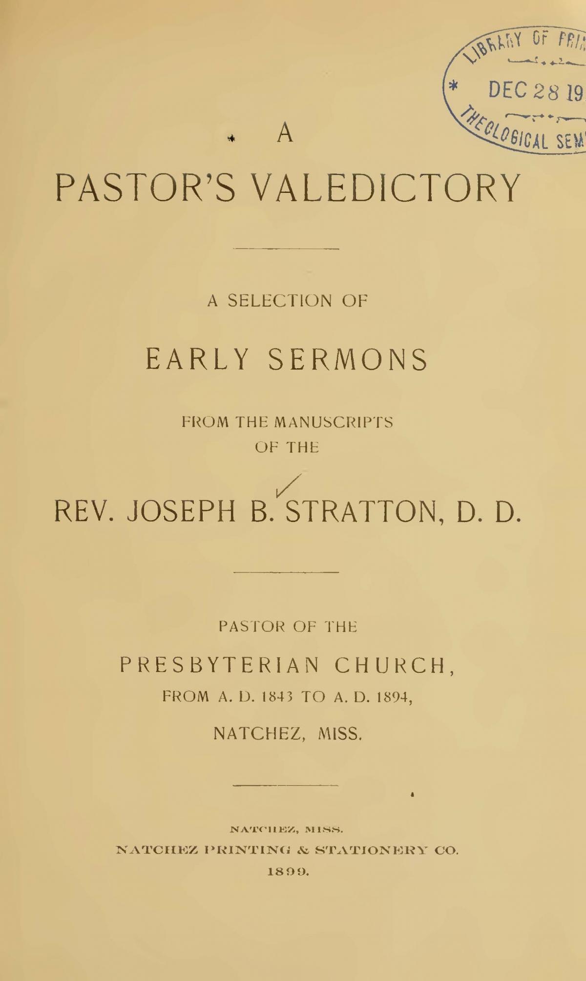 Stratton, Sr., Joseph Buck, A Pastor's Valedictory Title Page.jpg