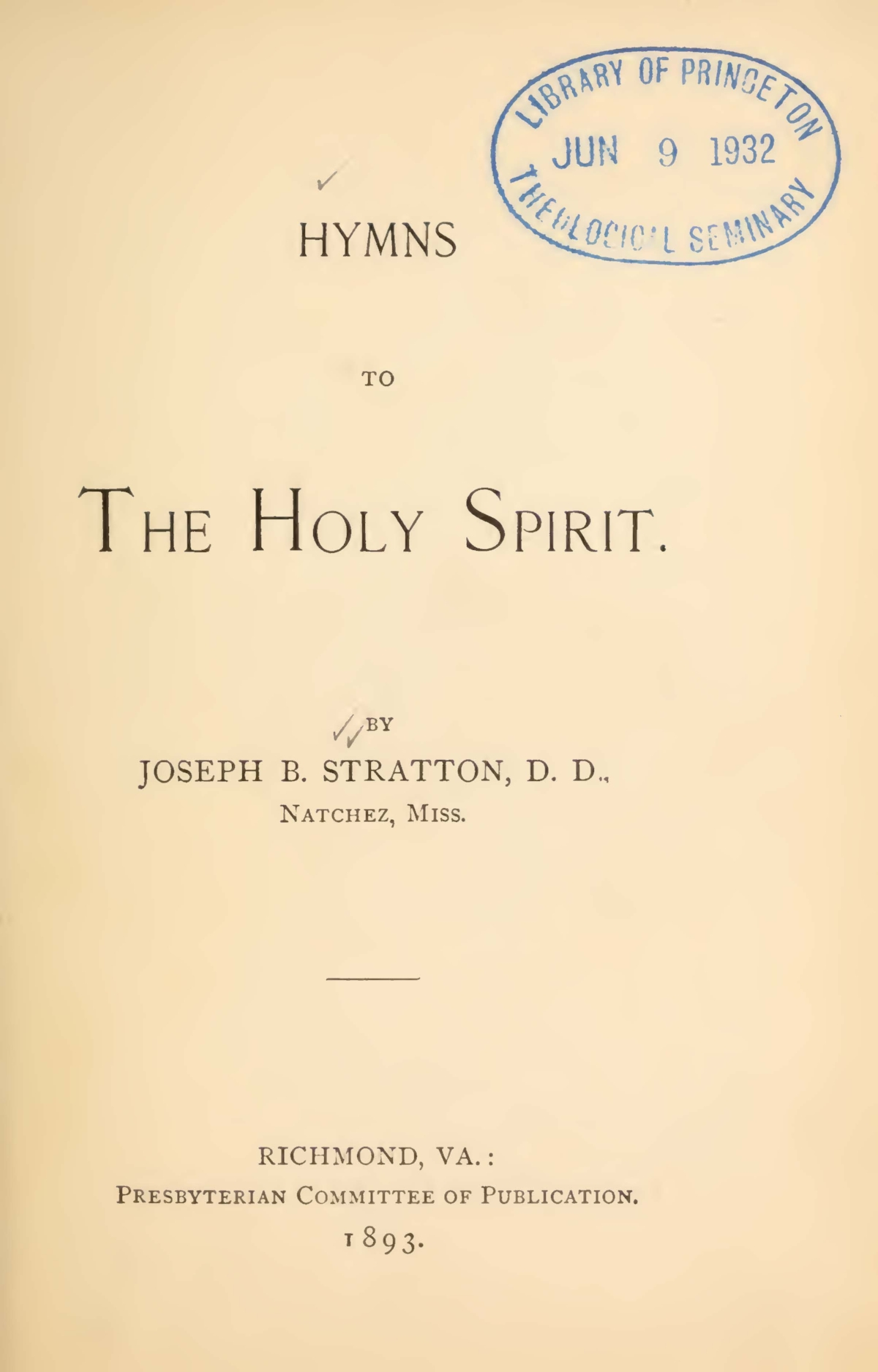 Stratton, Sr., Joseph Buck, Hymns to the Holy Spirit Title Page.jpg