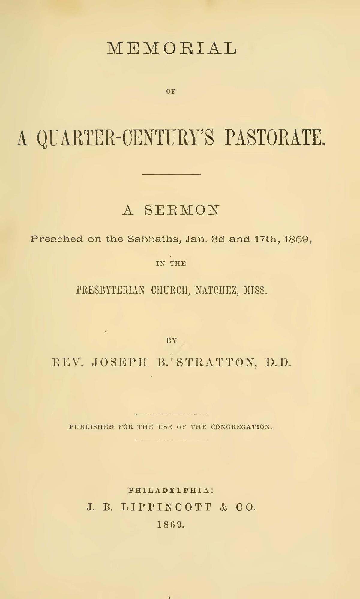 Stratton, Sr., Joseph Buck, Memorial of a Quarter-Century's Pastorate Title Page.jpg