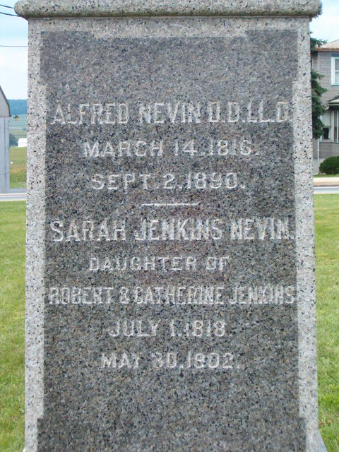 Alfred Nevin is buried at Caernarvon Church Cemetery, Churchtown, Pennsylvania.