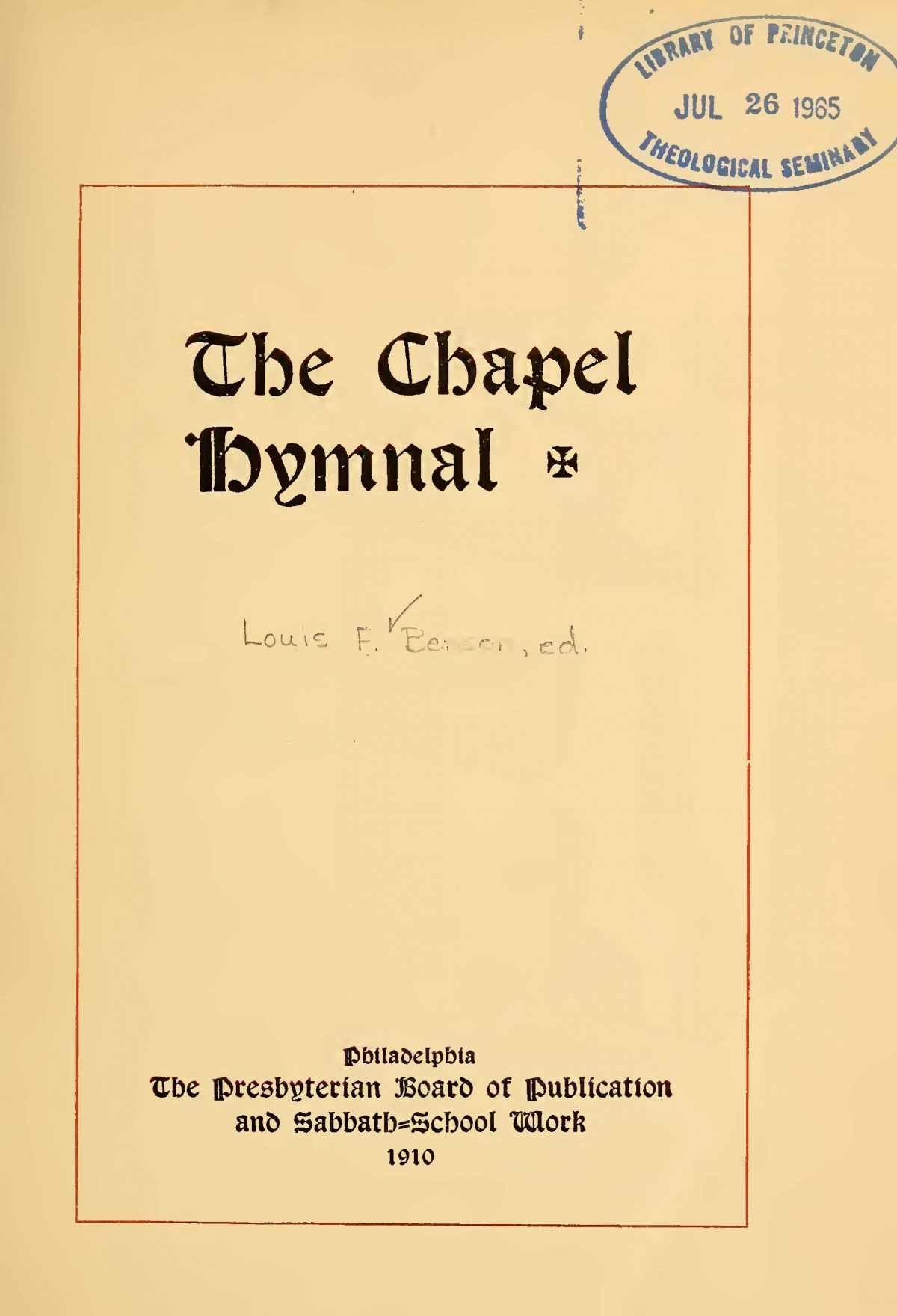 Benson, Louis FitzGerald, The Chapel Hymnal Title Page.jpg