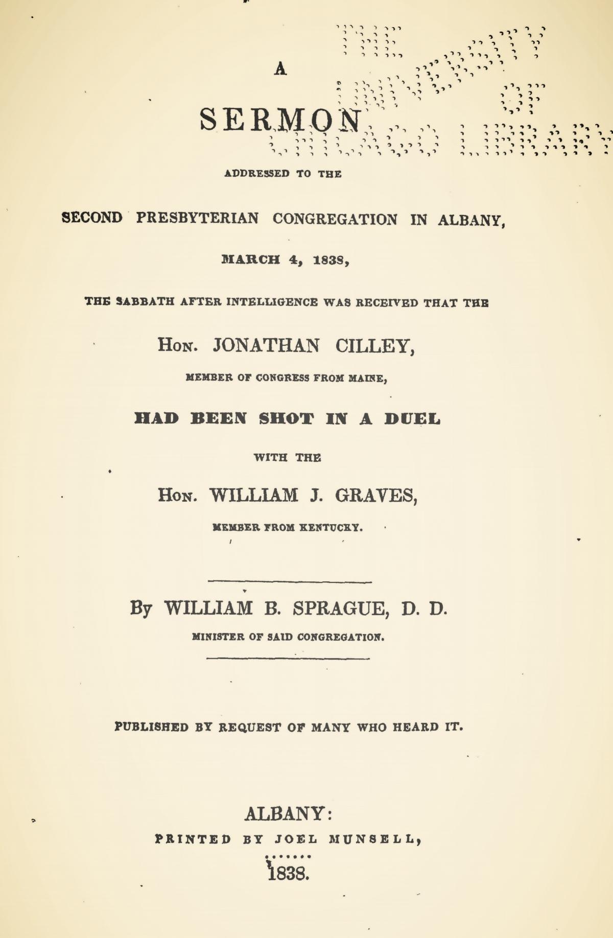 Sprague, William Buell, 1838 Sermon re Duel Title Page.jpg
