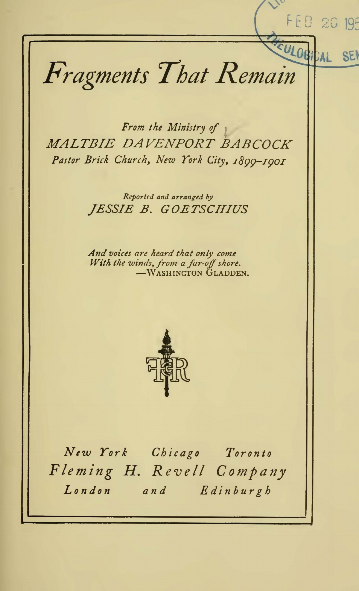 Babcock, Maltbie Davenport, Fragments That Remain Title Page.jpg